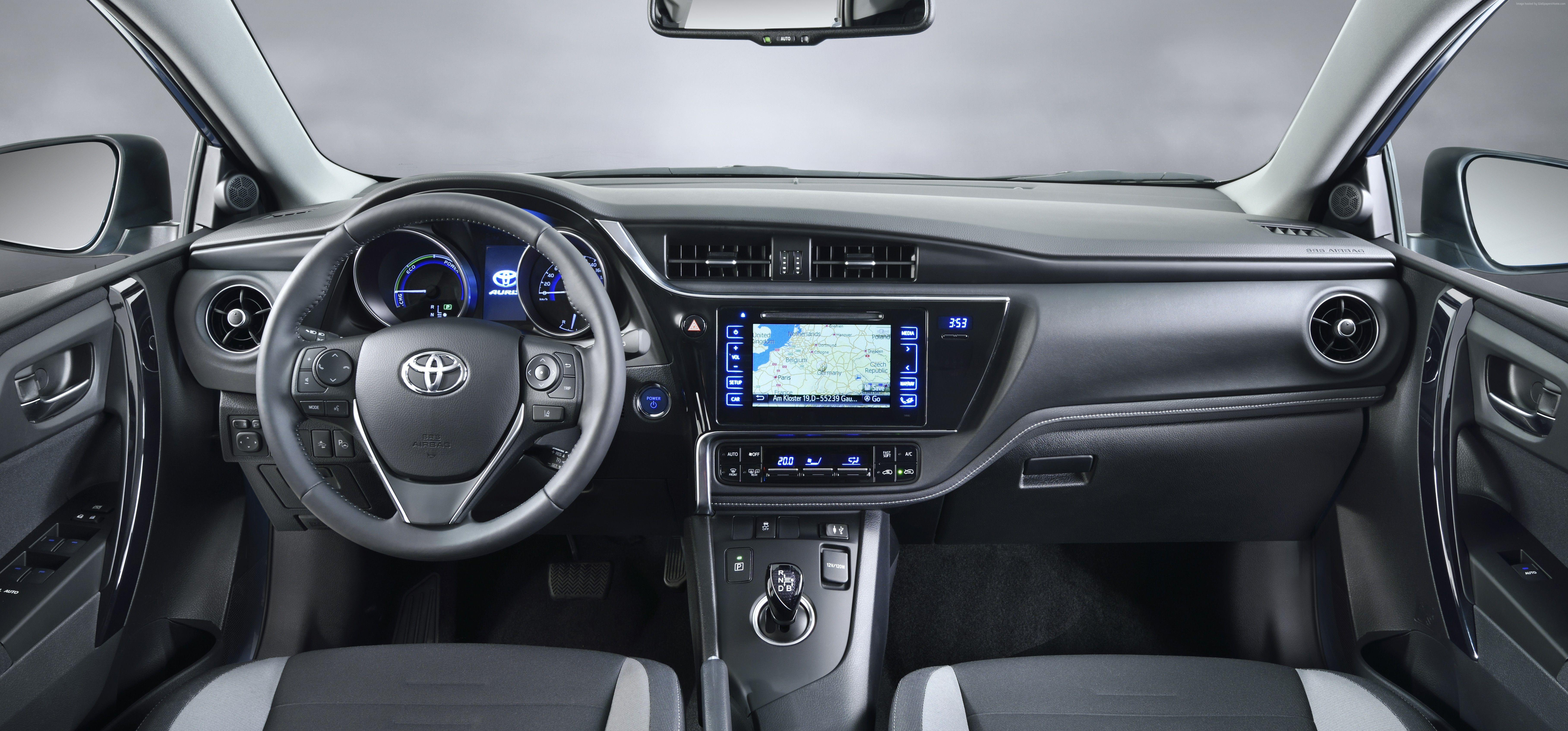 Wallpapers Toyota auris, hatchback, hybrid, blue, interior., Cars