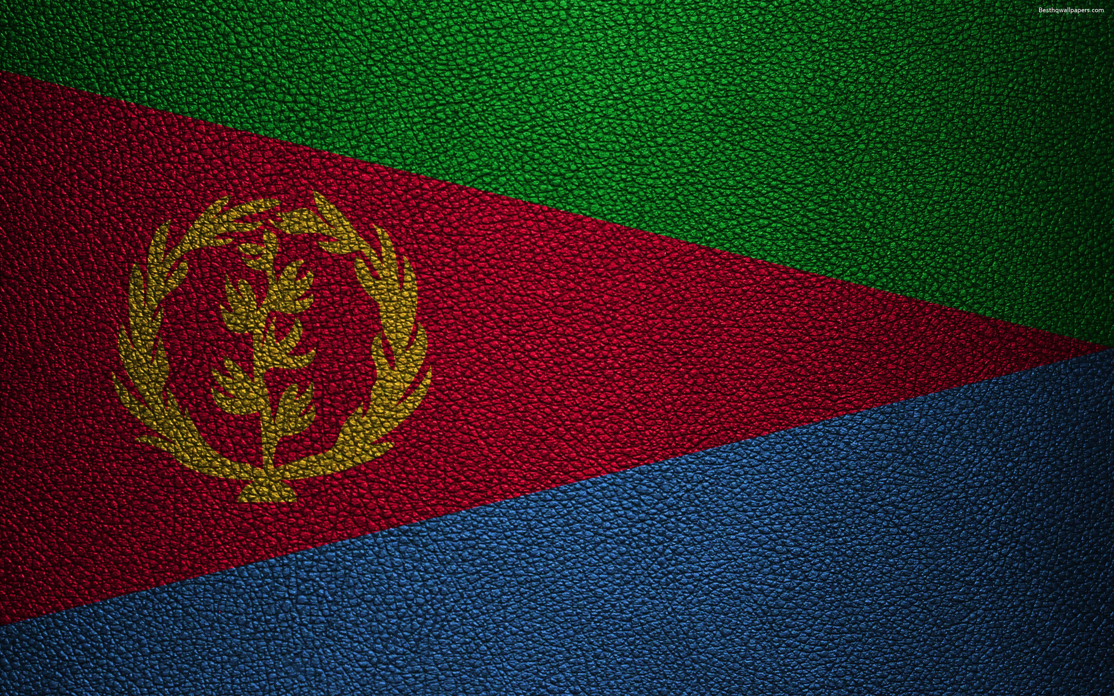 Download wallpapers Flag of Eritrea, Africa, 4K, leather texture