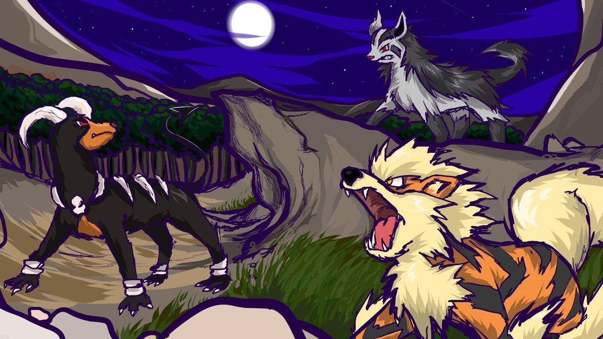 Mightyena, Houndoom, Arcanine by ishmam