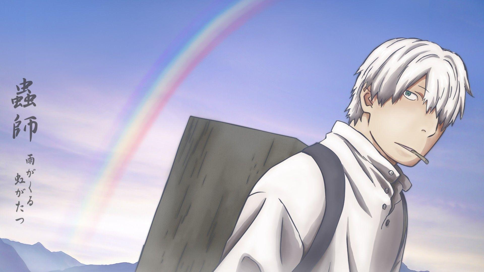 ScreenHeaven: Ginko Mushishi backpacks rainbows white hair desktop
