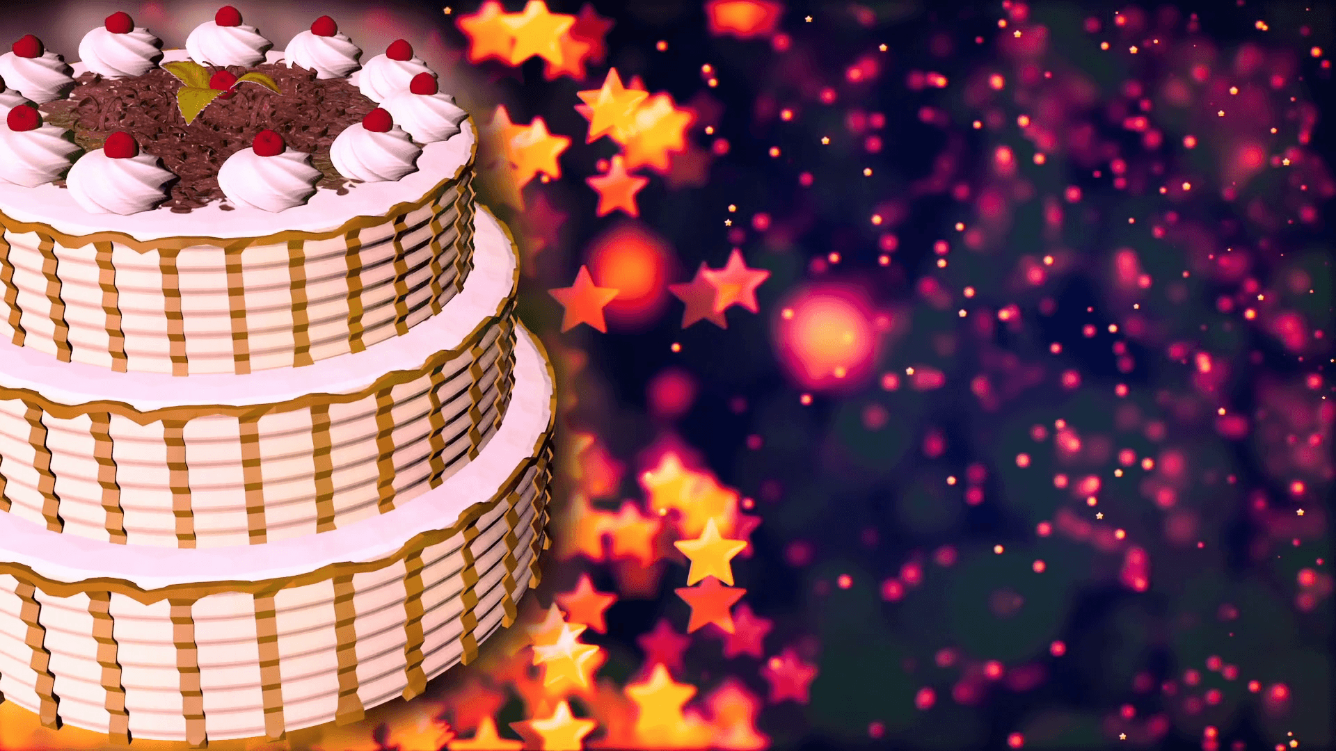 Happy Birthday cake. Loopable Abstract Background. Motion Backgrounds
