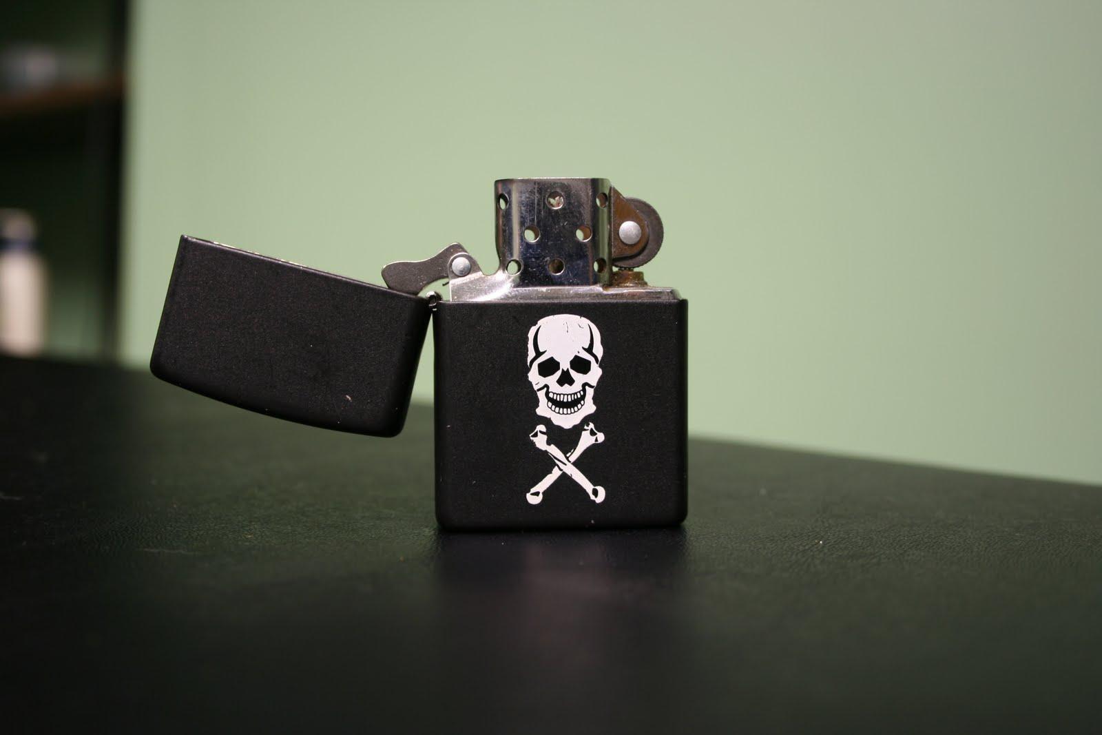 Black Zippo With Skull Logo HD Wallpaper