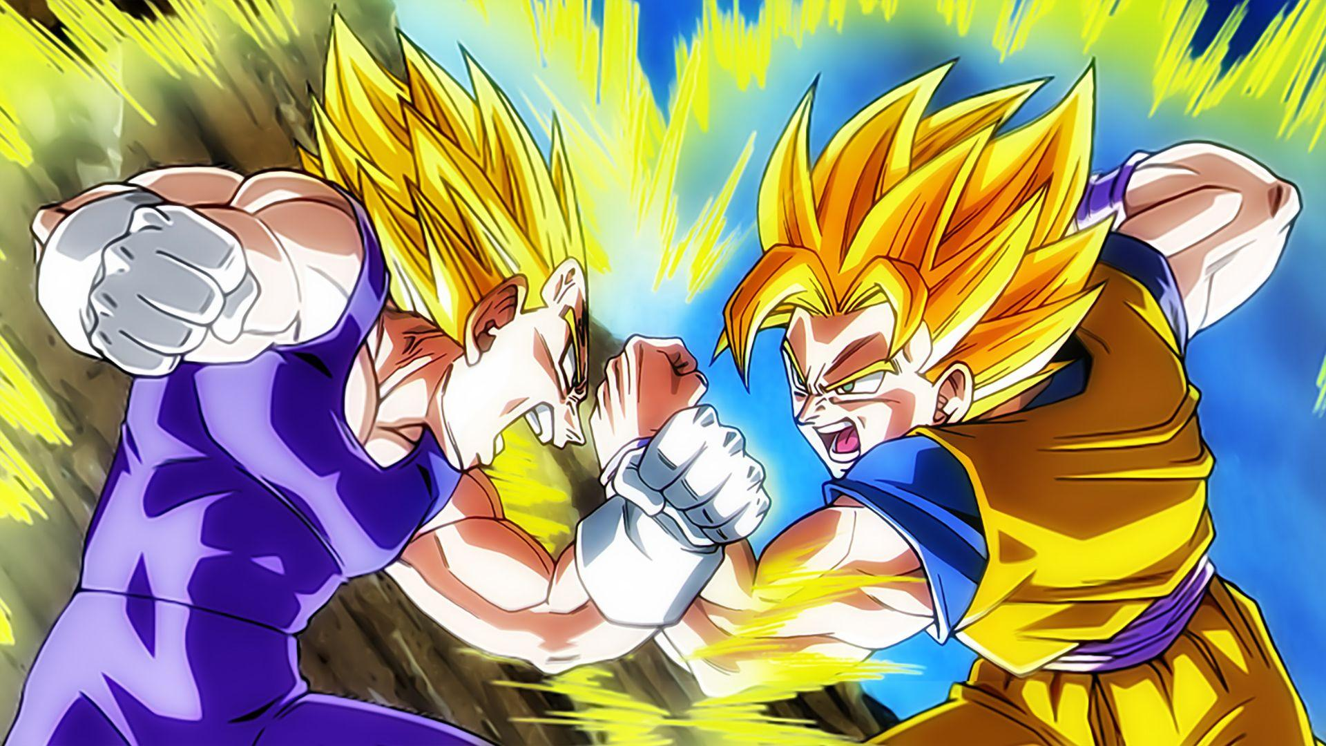 Super Saiyan Goku Vs Vegeta HD Wallpaper