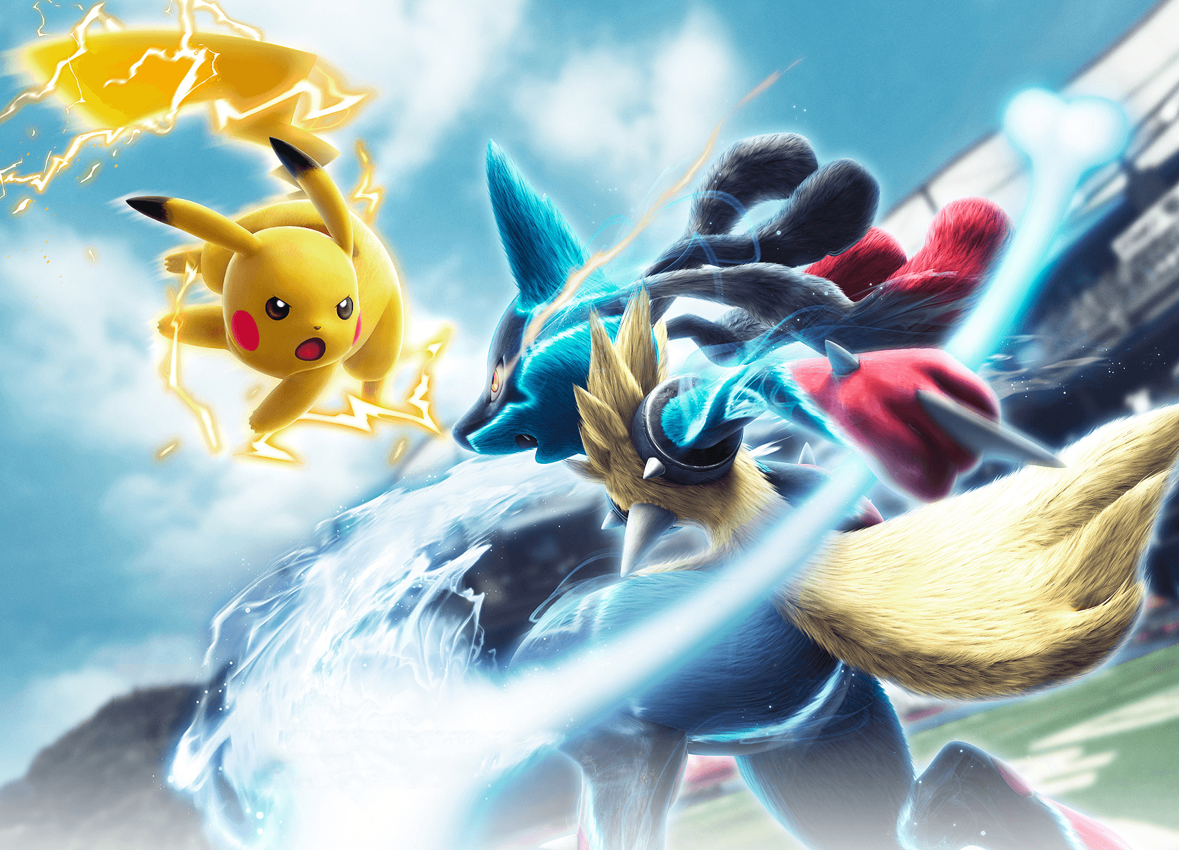 Mega Lucario VS Pikachu Wallpaper and Background Image | 1700x1226 ...
