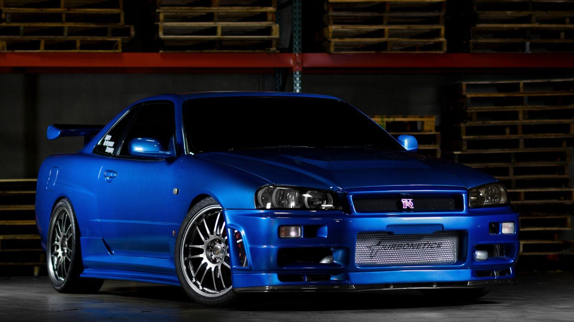 Download wallpaper nissan skyline gtr r34 blue front