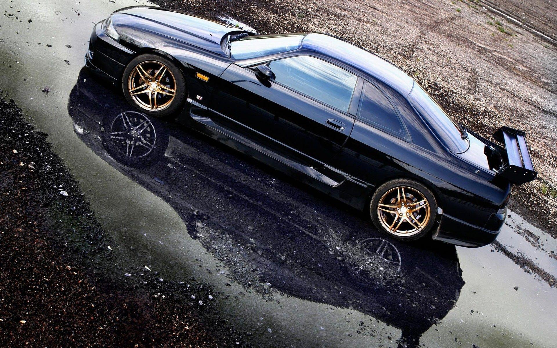Captivating Black Cars Vehicles Reflections Nissan Skyline R33 Gt R Wallpaper .