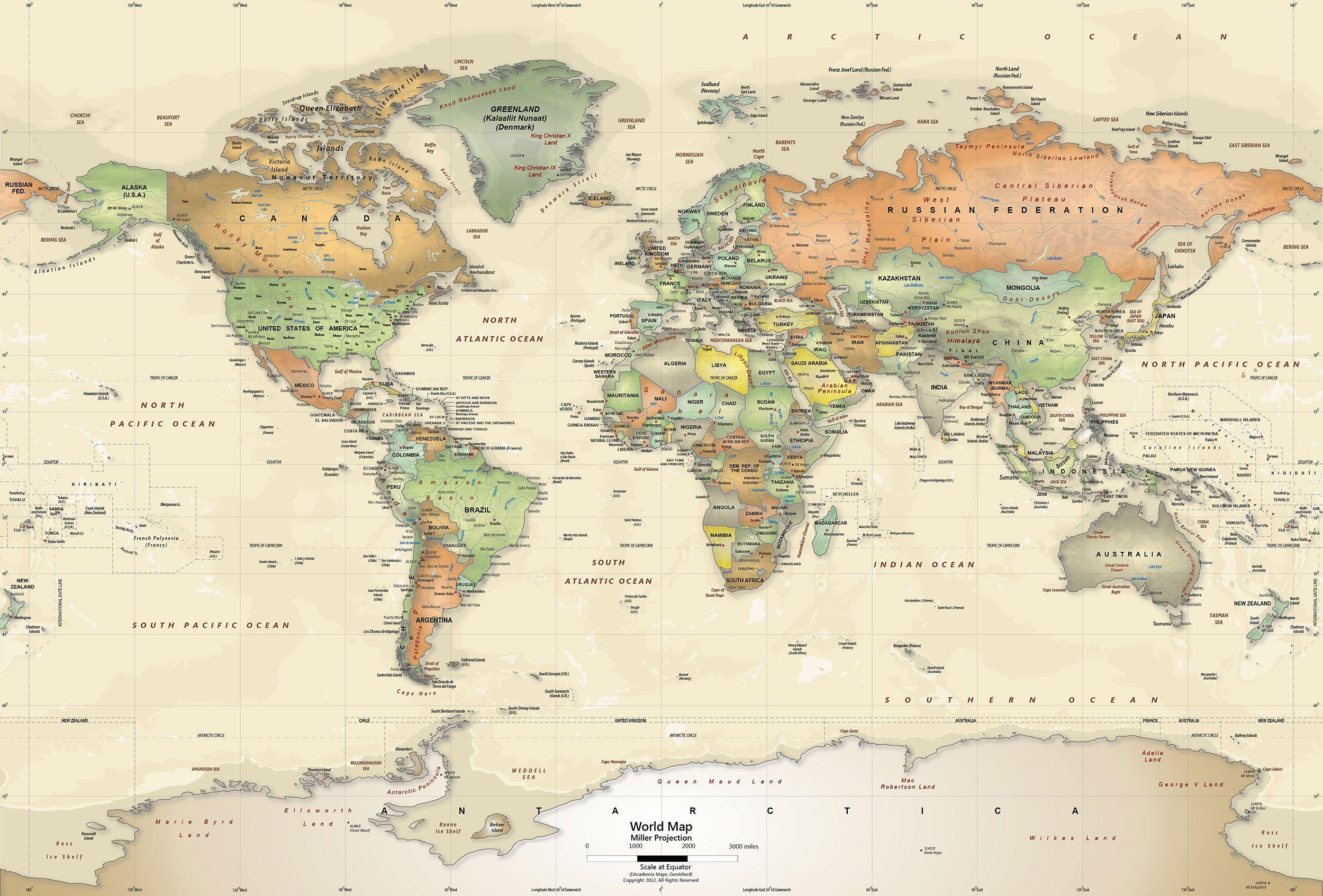 World Maps With Countries Wallpapers - Wallpaper Cave