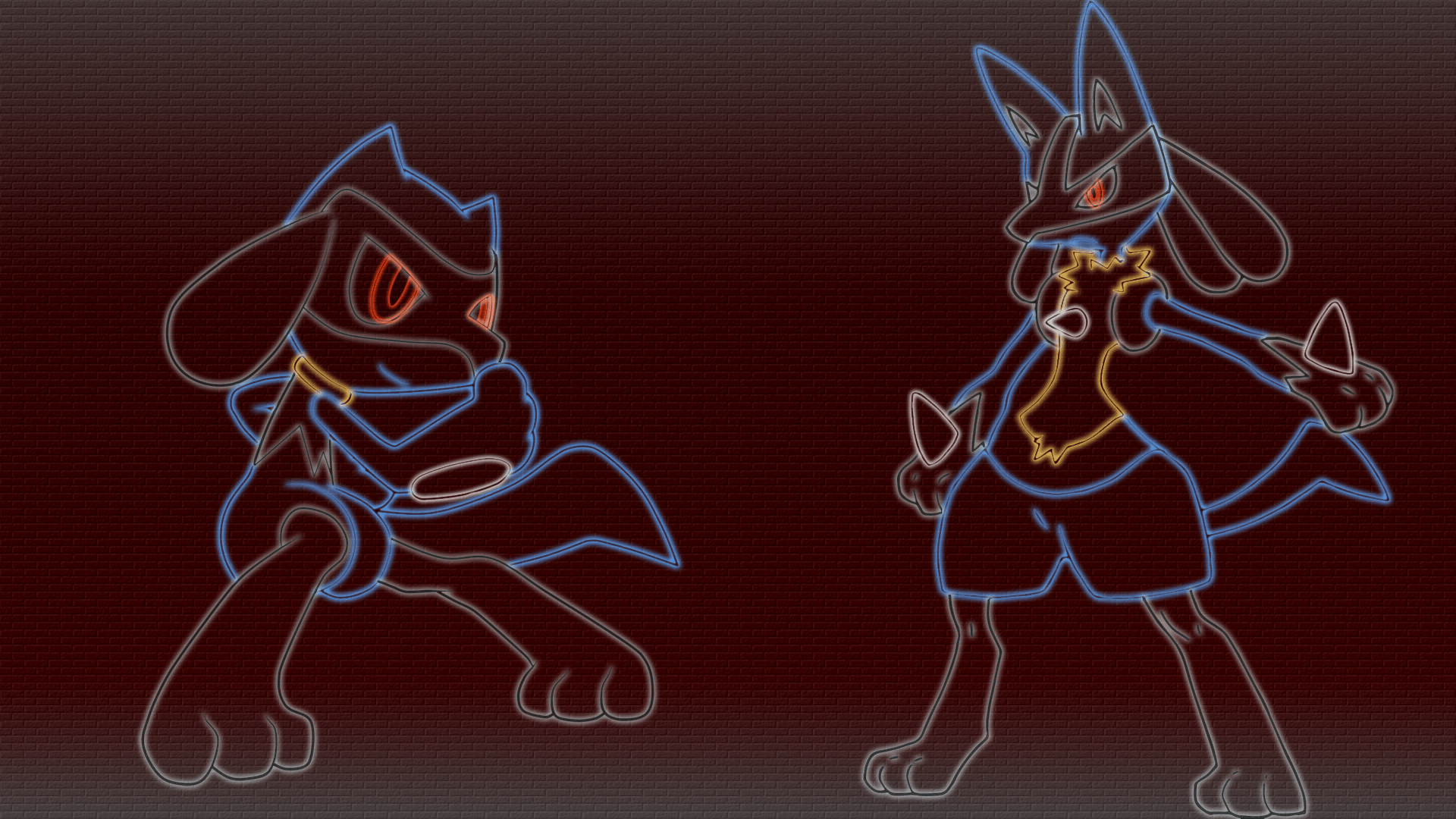 riolu and lucario comic | Riolu and lucario neon wallpaper by gturbo ...
