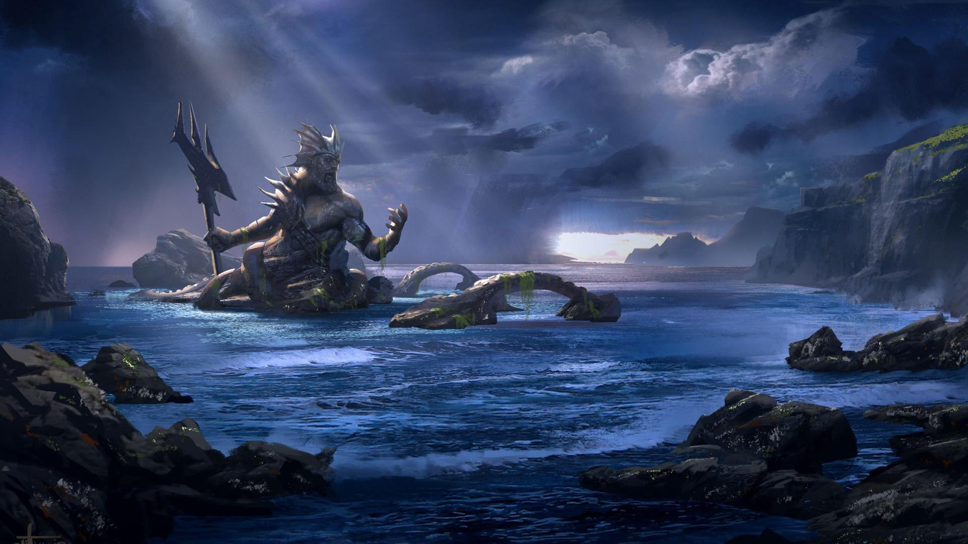 War poseidon mythology trident gods game ascension wallpapers