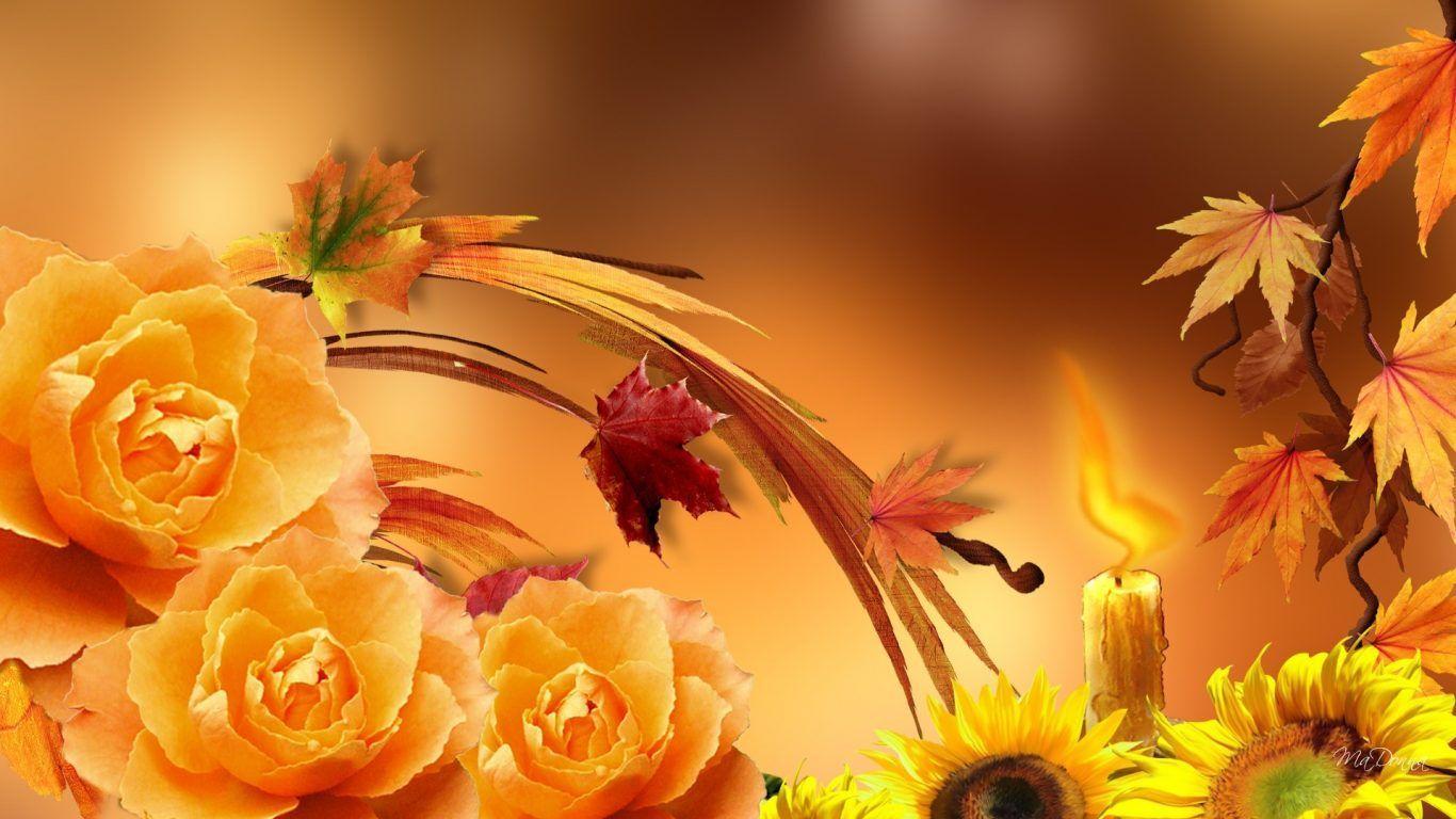 Открытки с осенними цветами без надписей, анимация
