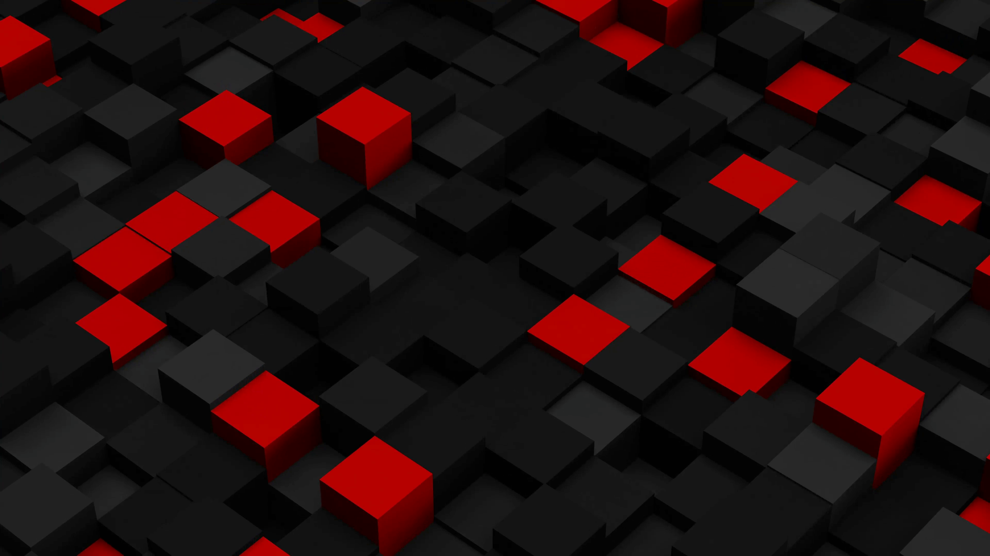 Red and black 3D boxes. Loopable abstract background. 4k UHD ...