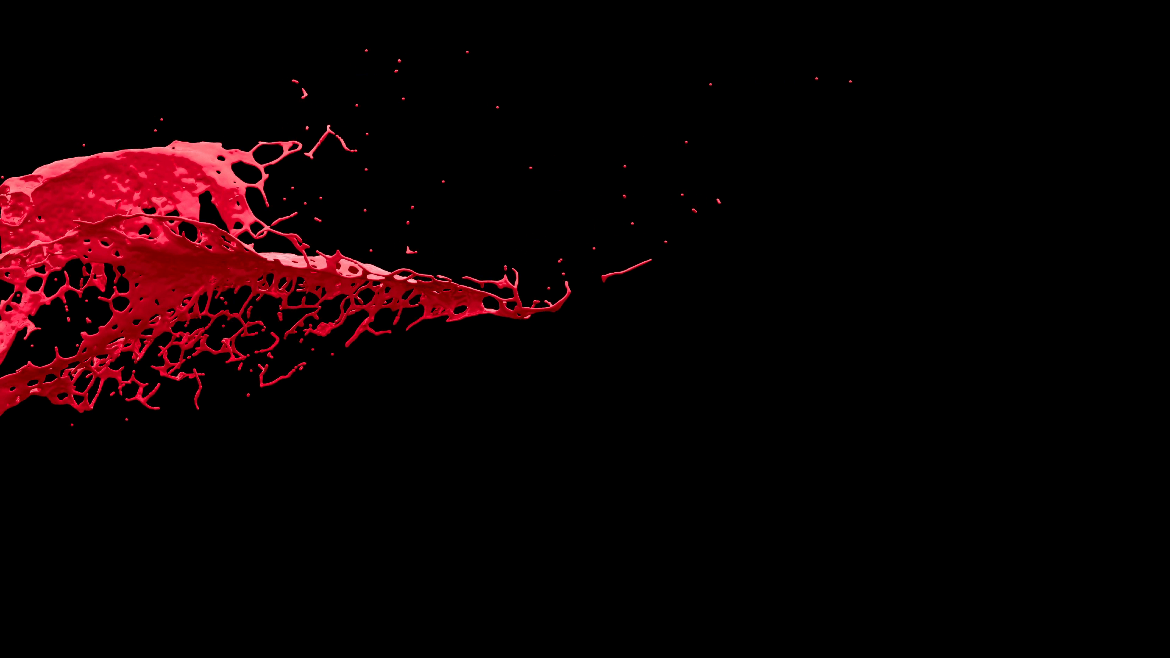 4K Slow Motion Red Paint 3D Splash On Black Background With Alpha ...