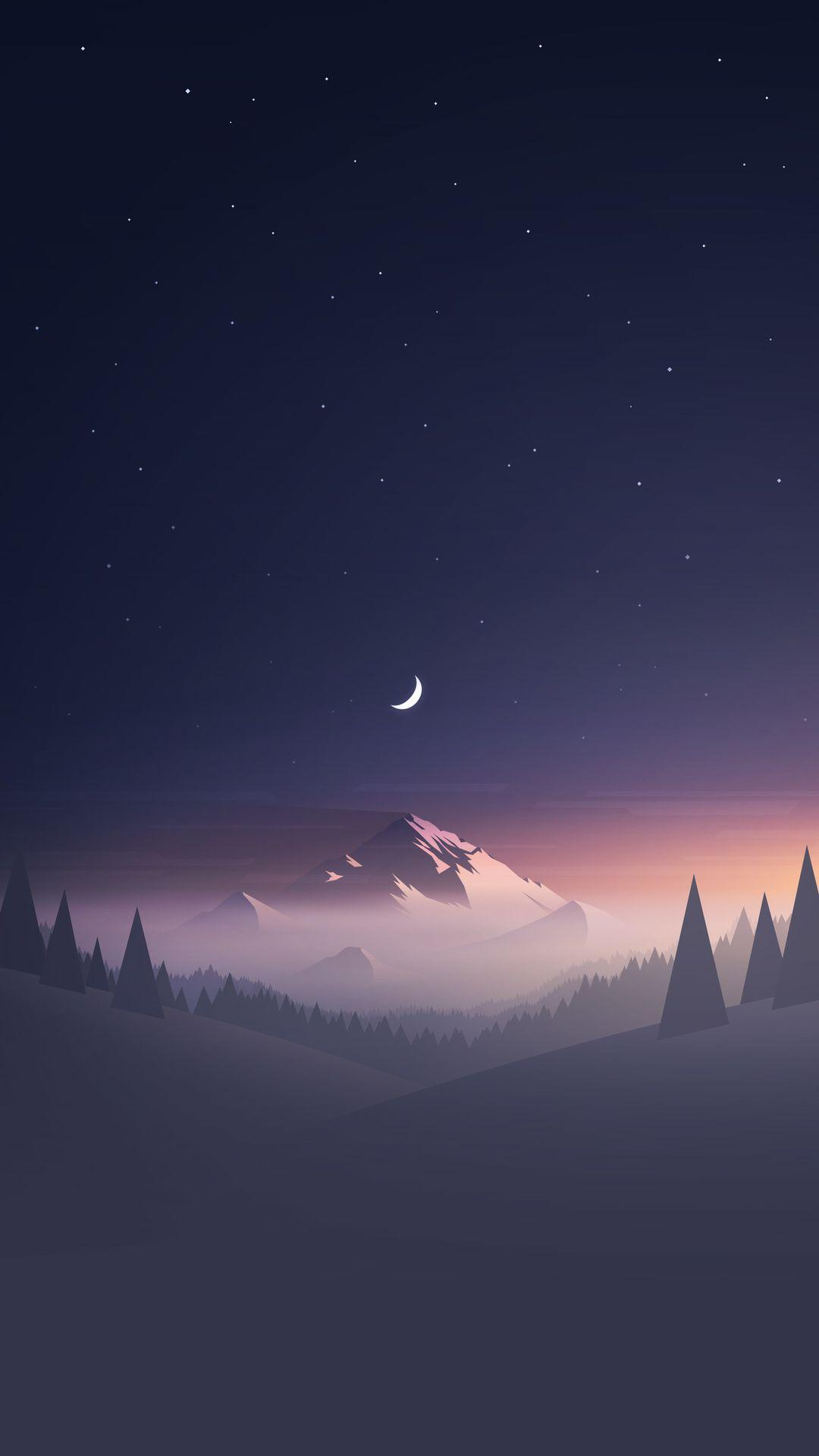 Mountains Moon Trees Minimalism Hd Wallpaper - [1080x1920]