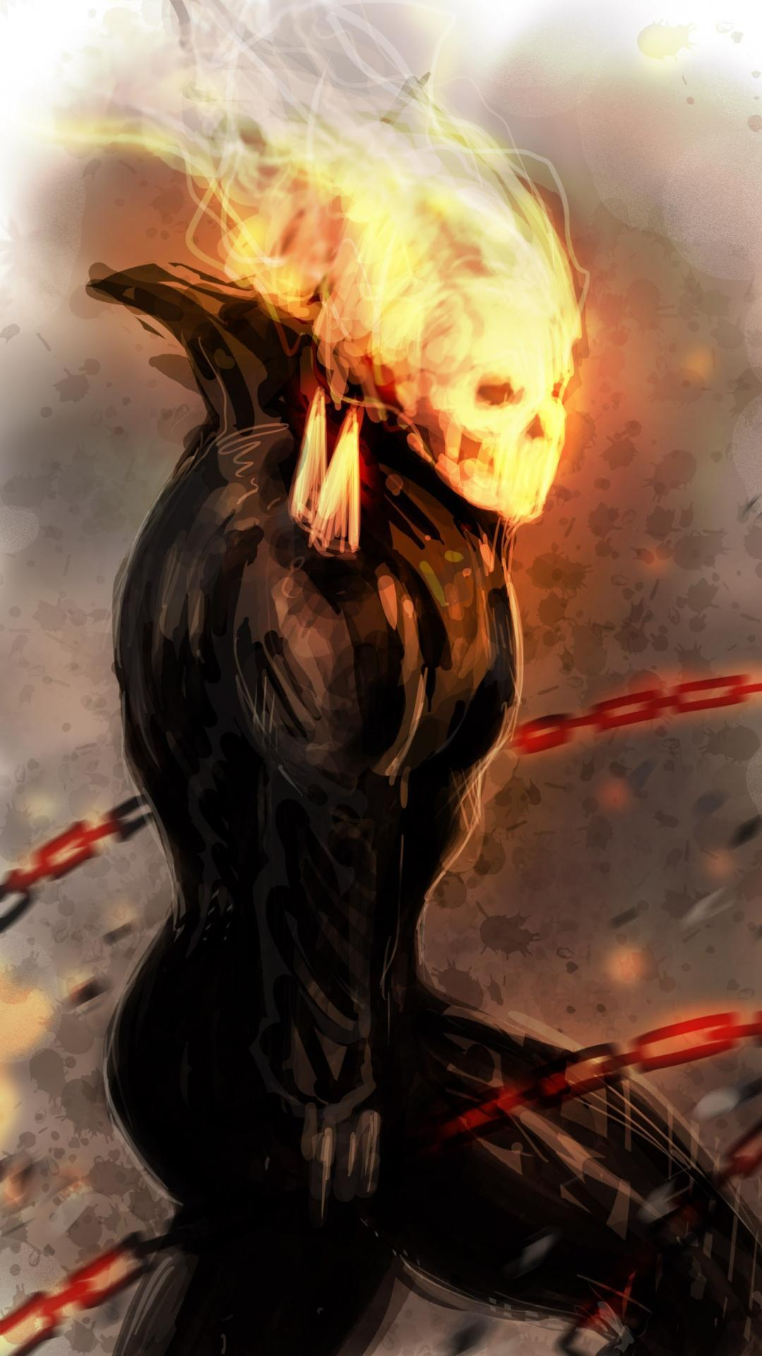 Comics fire ghost rider drawings chains traditional wallpapers