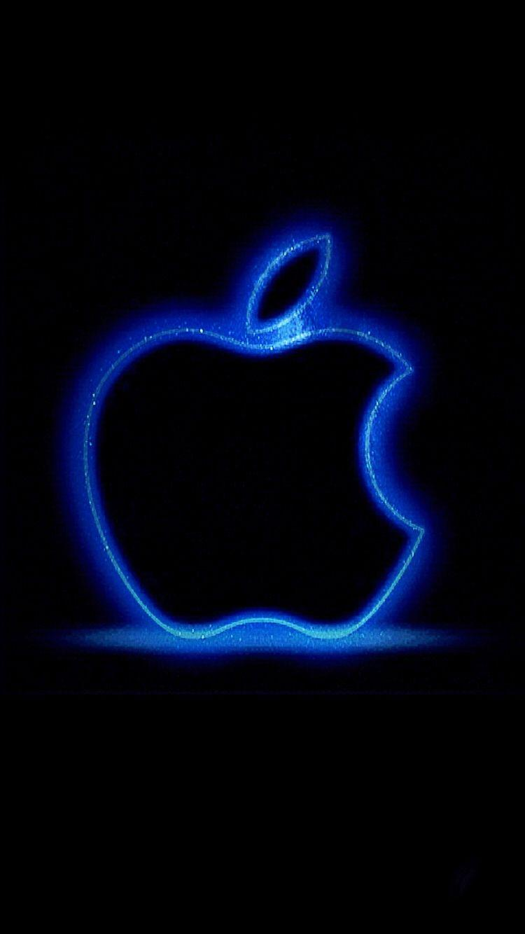 Apple Logo Glowing Blue iPhone 6 Wallpapers