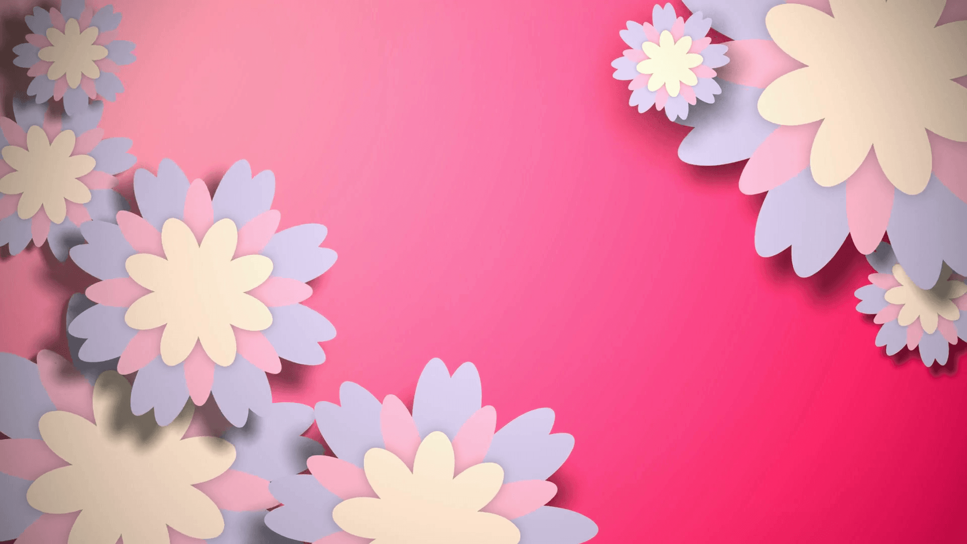 Animated wallpapers with pastel color flowers on pink backgrounds