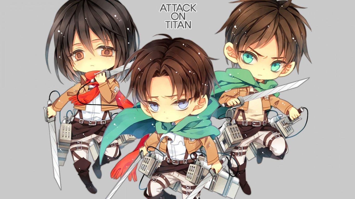 Attack on titan chibi wallpapers hd wallpaper cave - Eren and mikasa wallpaper ...