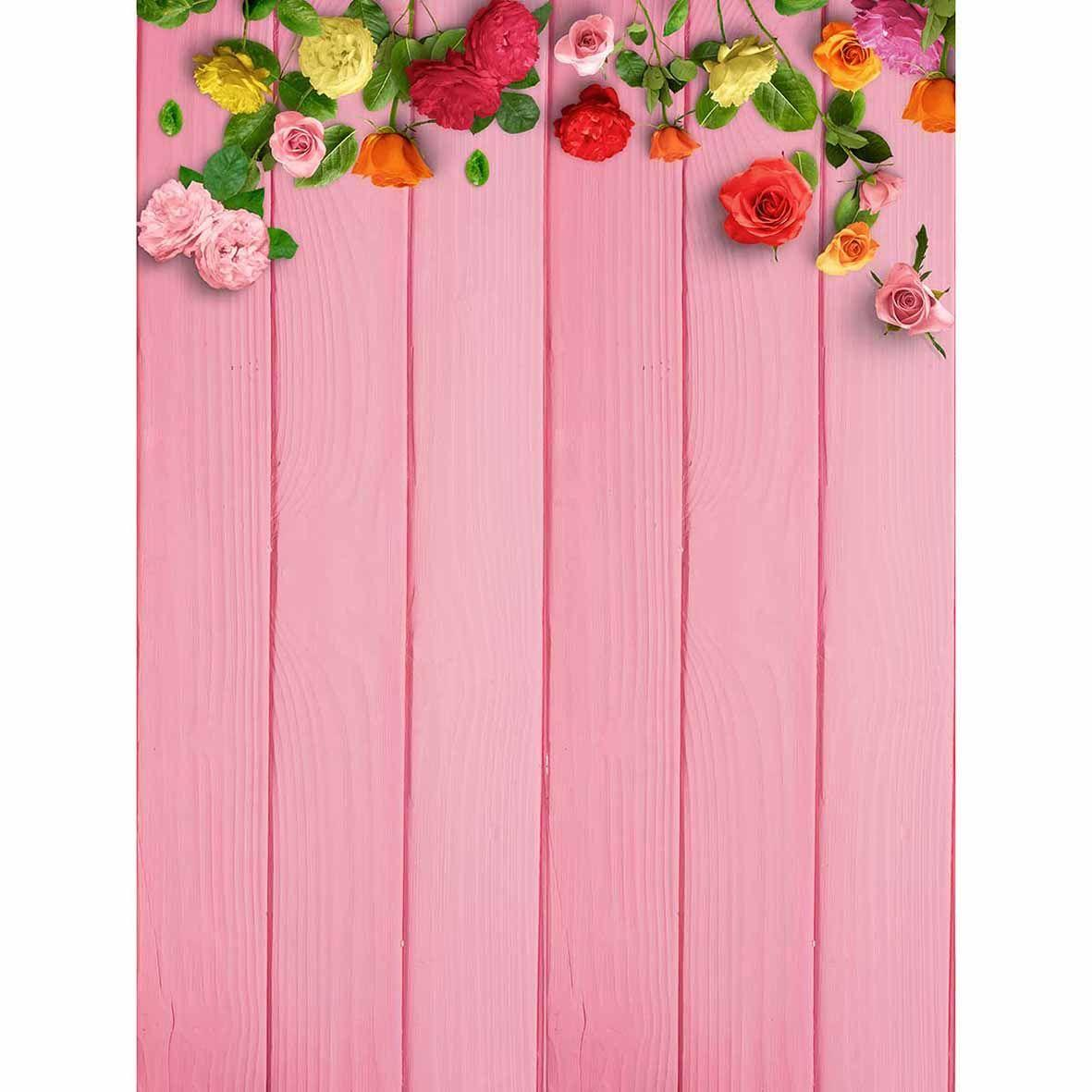 Allenjoy Pink wood colorful flowers cute backgrounds for children