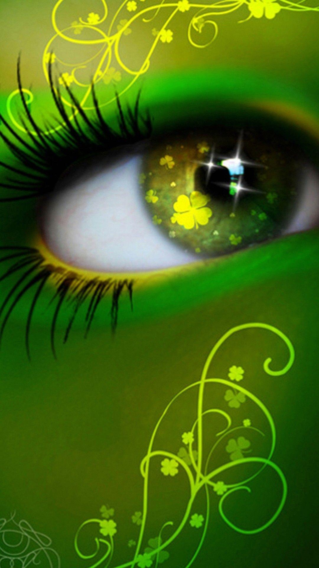 Wallpapers Iphone 6 Plus Eye Green Lucky 5 5 Inches