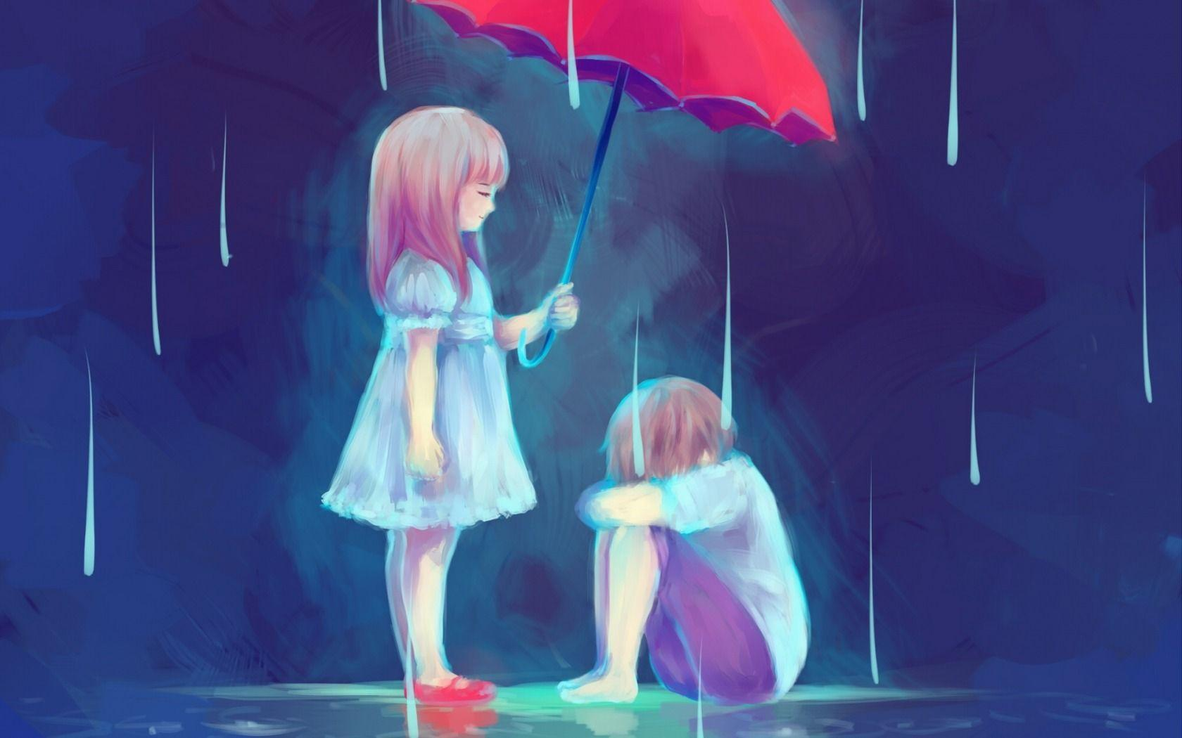 Sad painting of anime couple wallpaper hd desktop background
