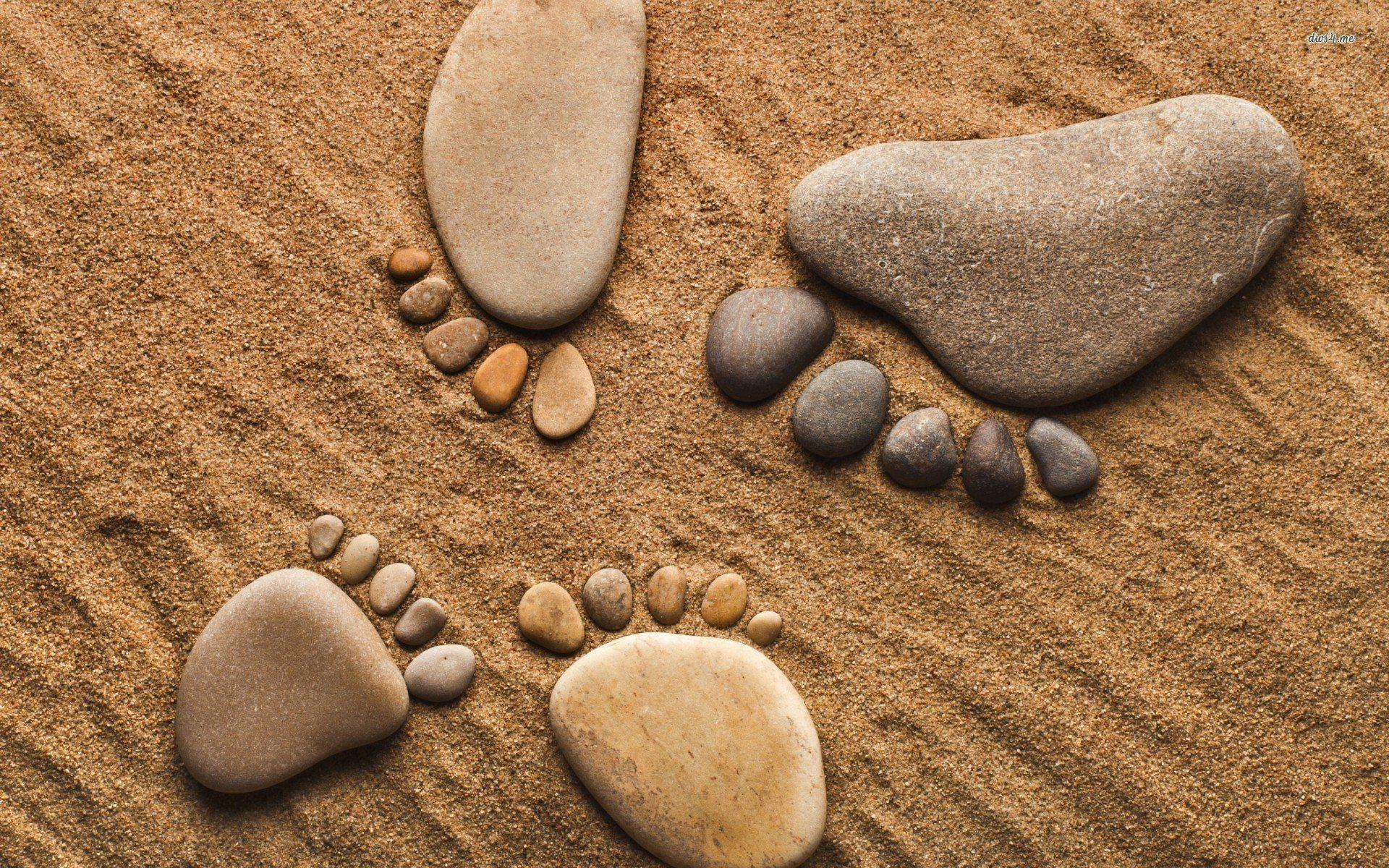 Footprints Made Of Pebbles 709402 - WallDevil