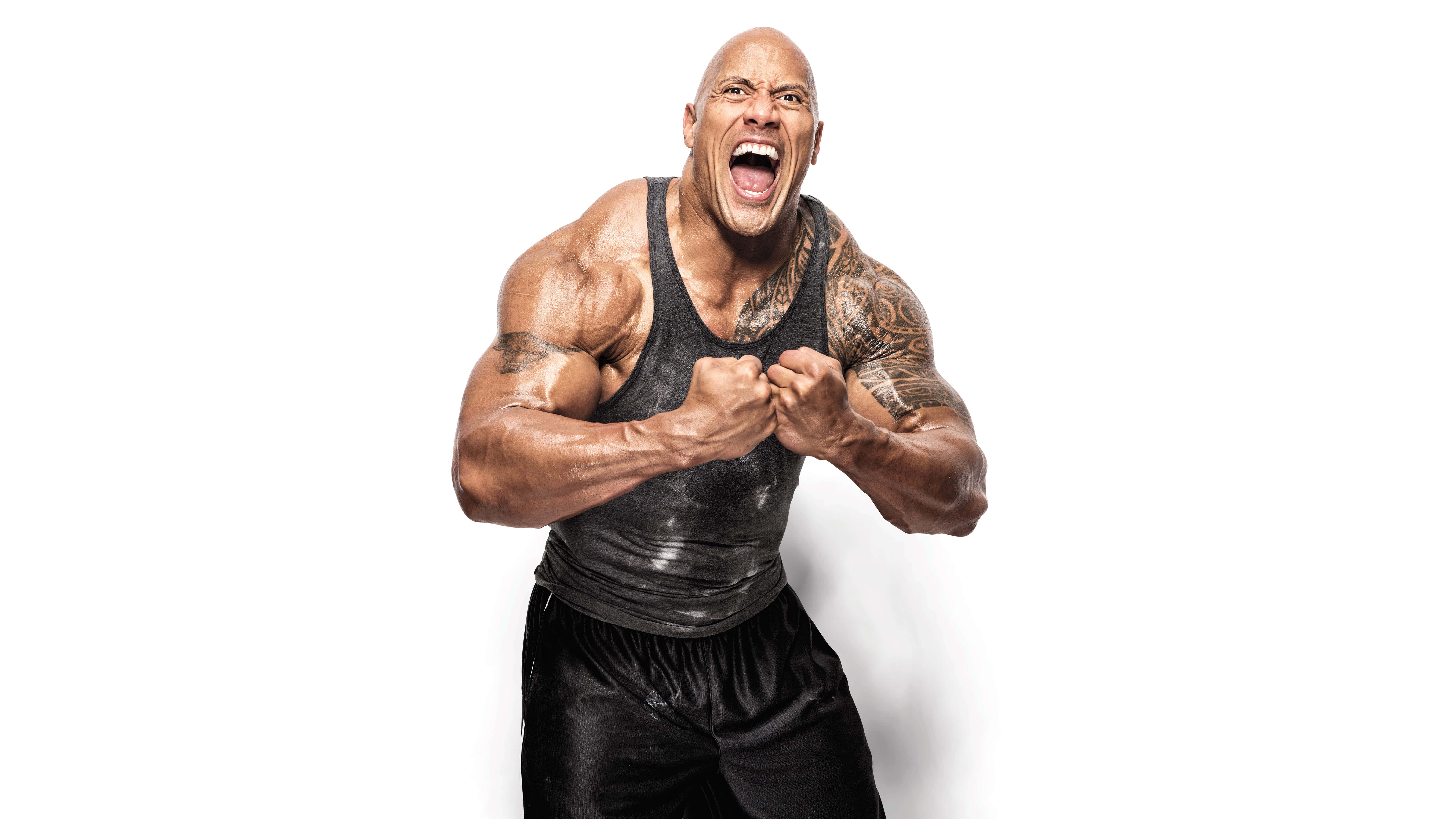 The Rock Dwayne Johnson Flexing UHD 8K Wallpaper
