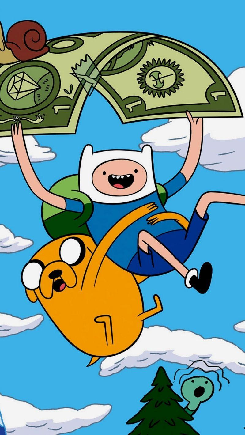 Download wallpapers 800x1420 adventure time with finn and jake, sky