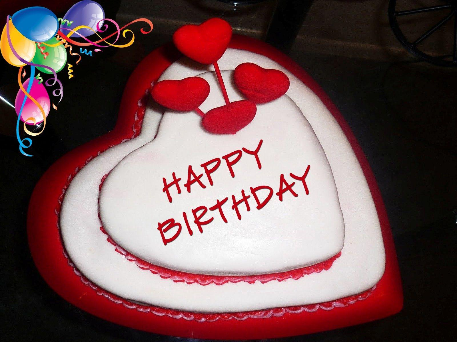 Happy birthday my love heart shape cake wallpapers