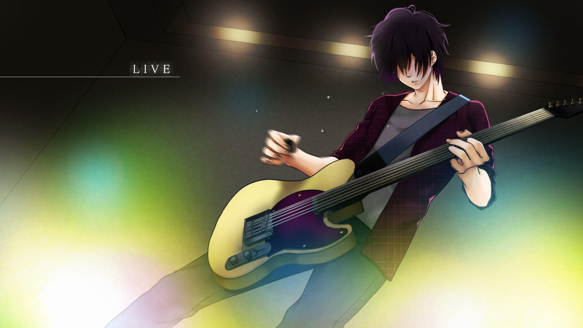 Fresh anime boy with guitar wallpaper anime wp