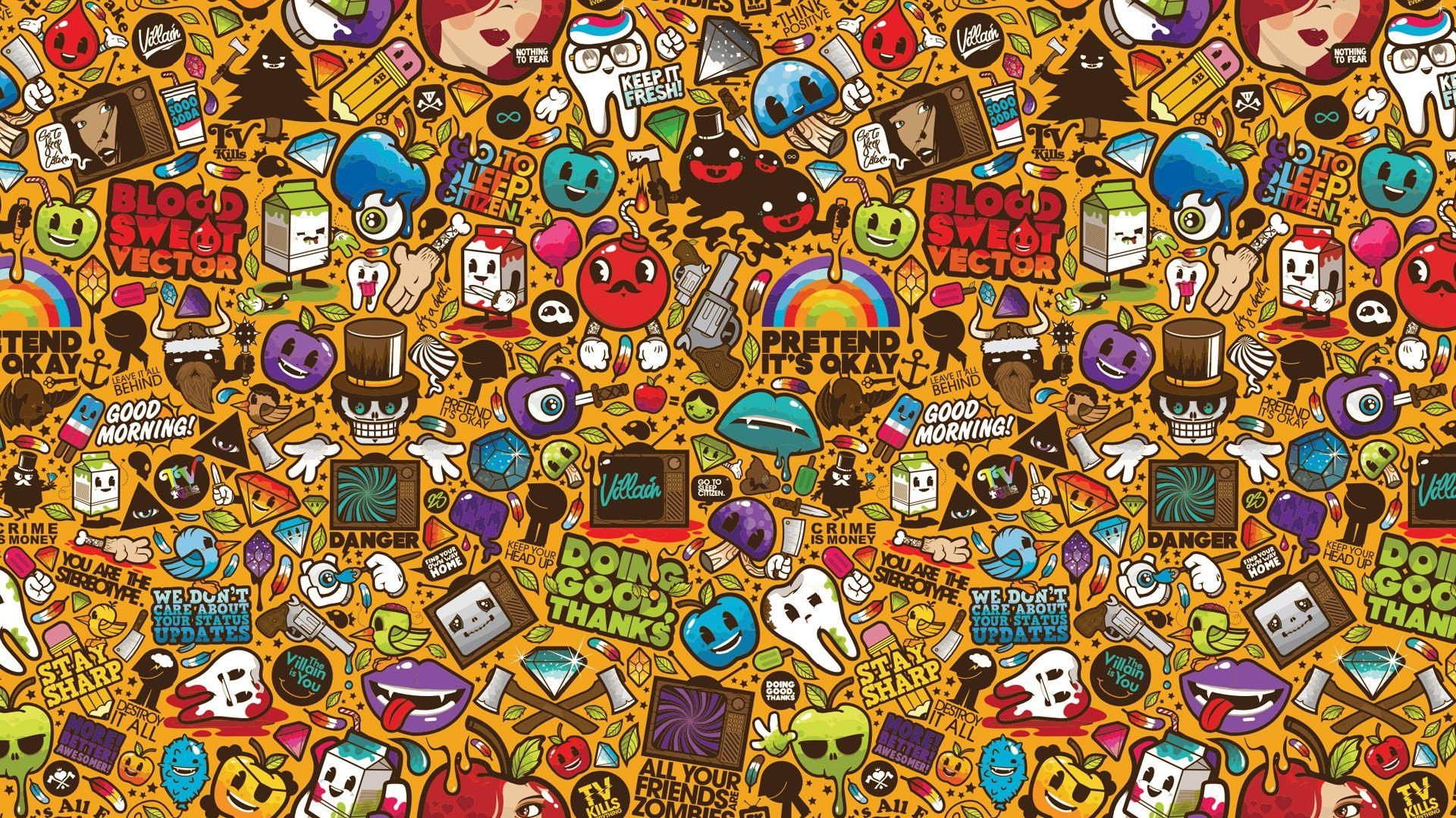 Sticker bomb full hd wallpaper and background image 1920x1080 id