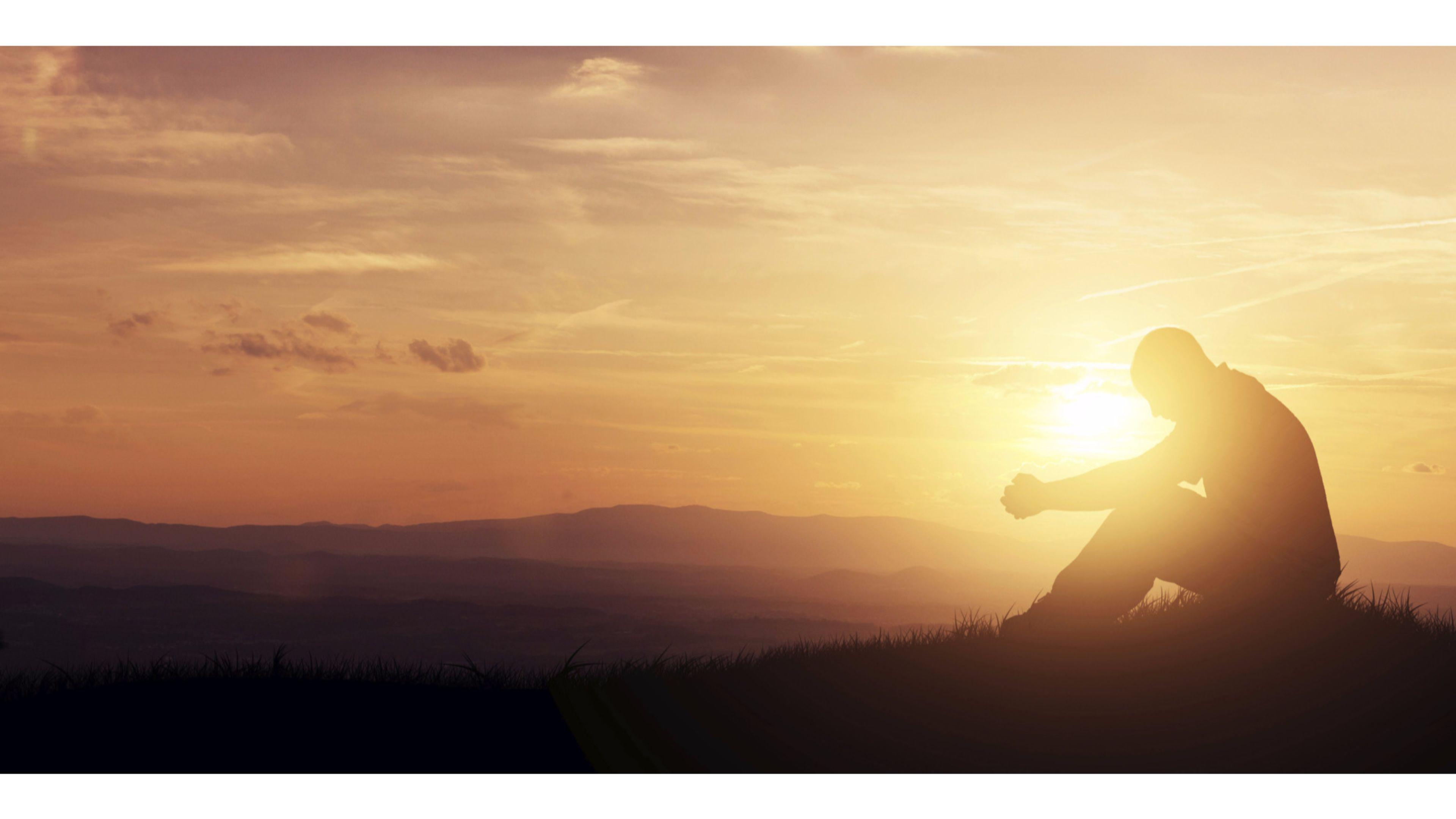 Beautiful Sunset Praying Religious 4K Wallpapers