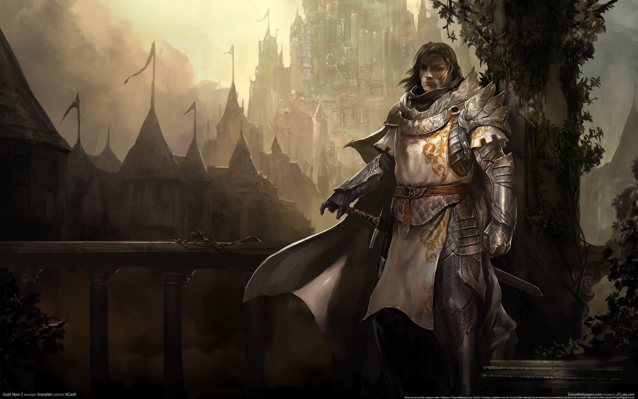 Crusader with armor on terrace game illustration HD wallpapers