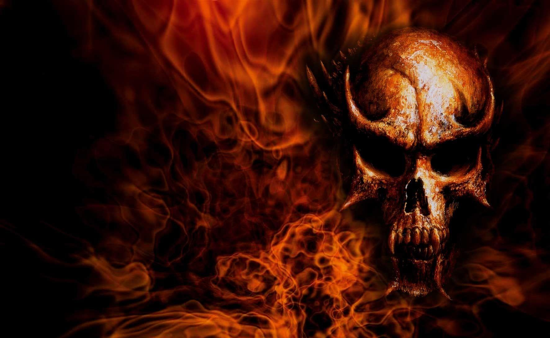 Red Flaming Skull Wallpapers