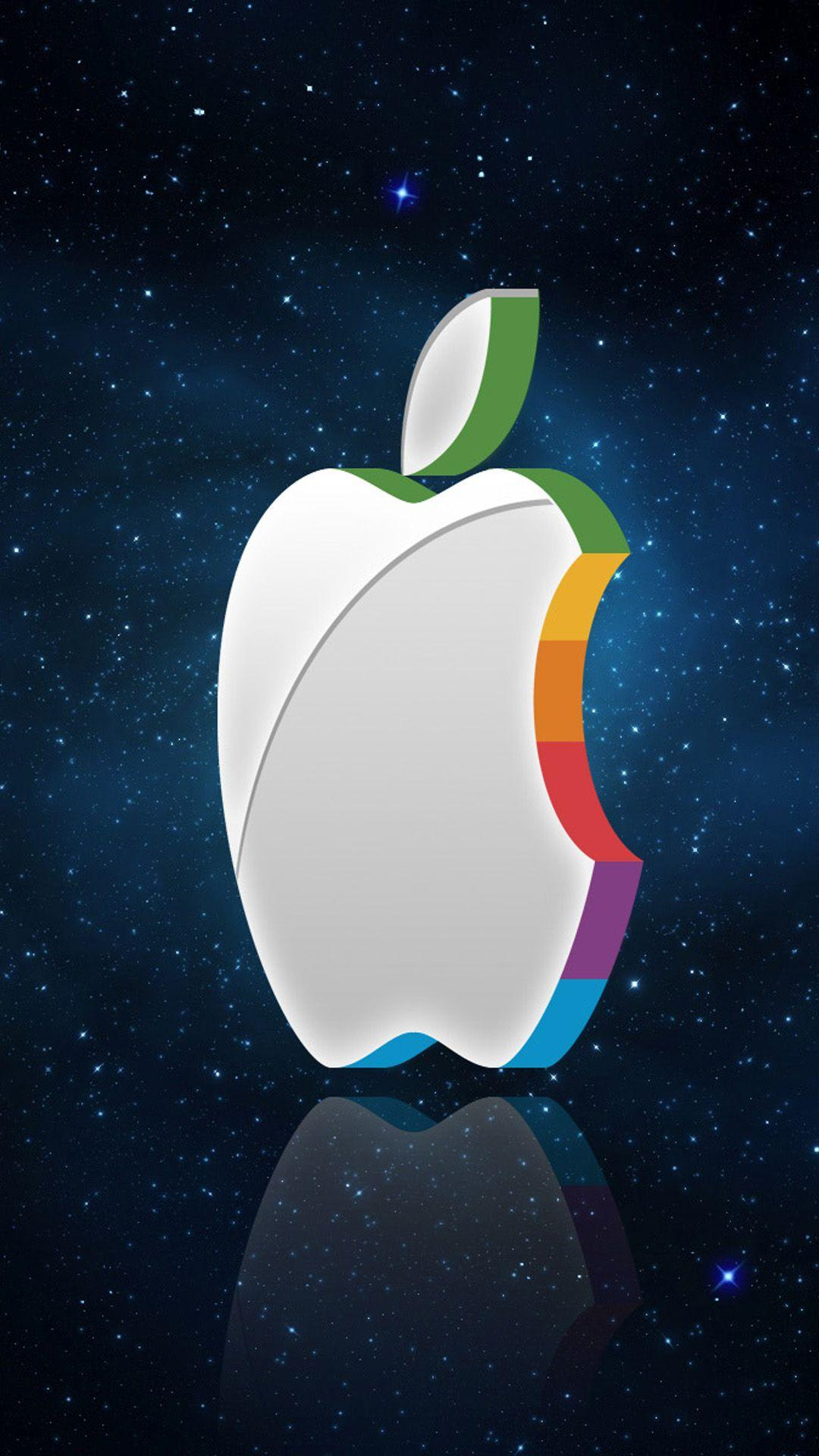 3D Apple Logo In Space Android wallpapers