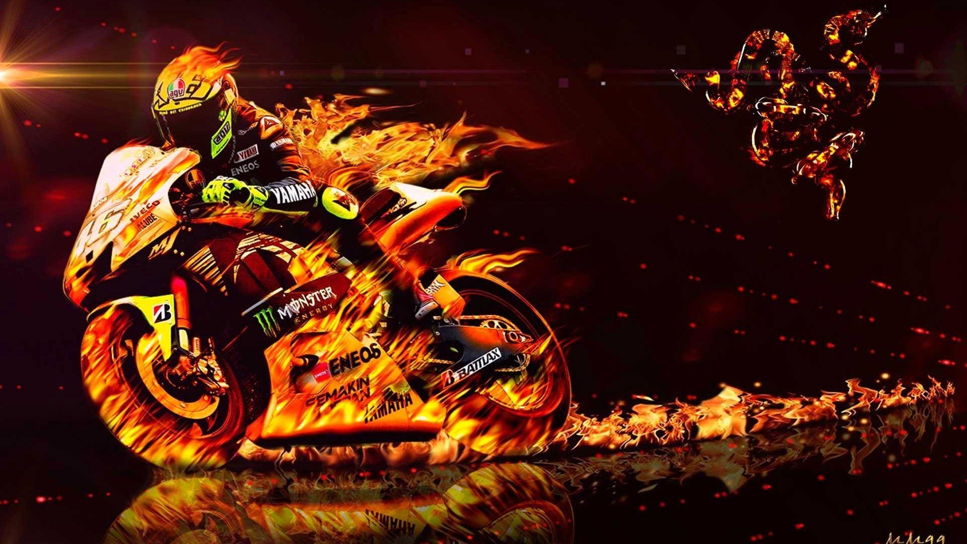Valentino Rossi, Fire, Flame, Bikes, Motorcycle, 2013 Valentino