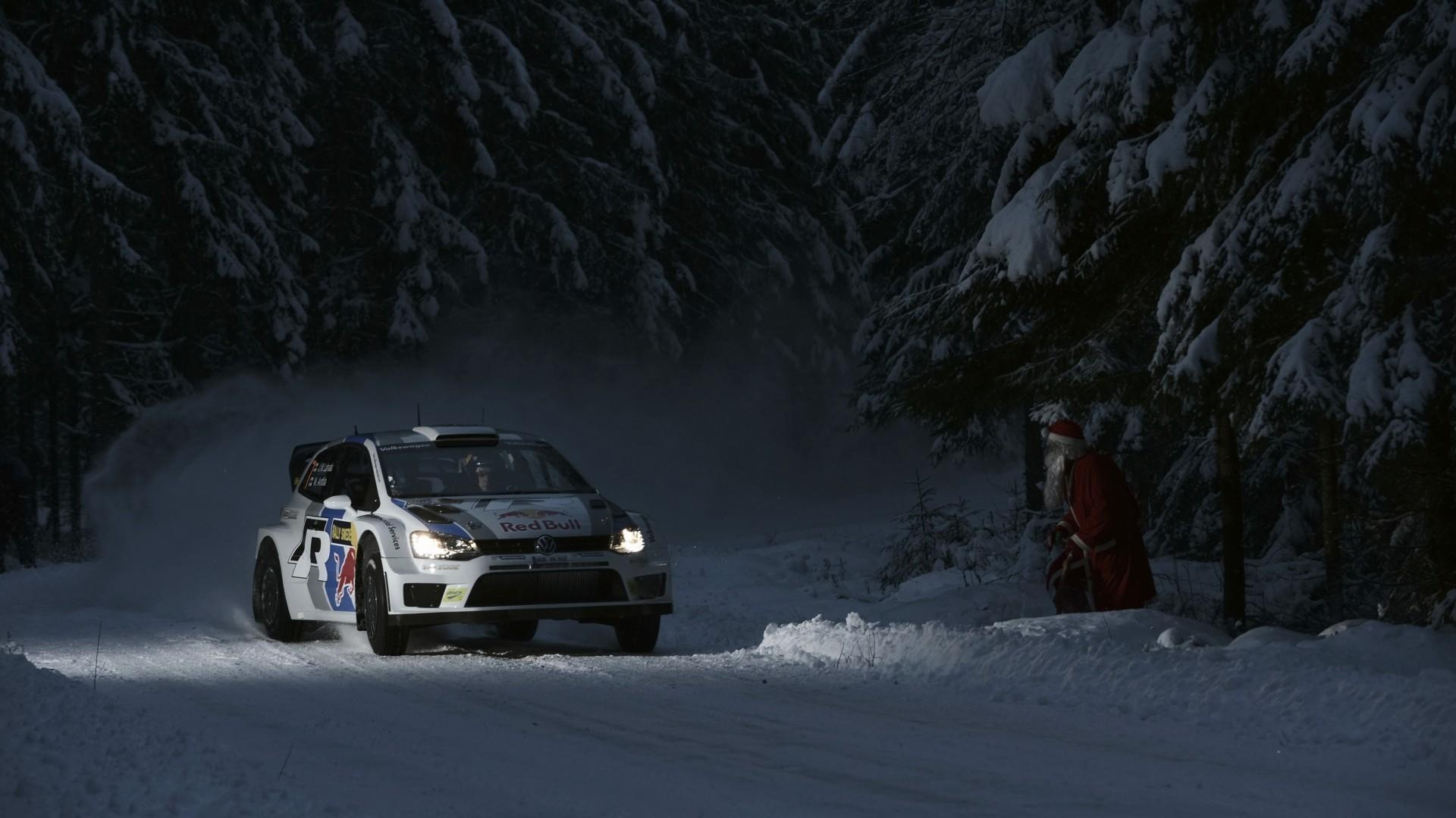 Volkswagen polo r wrc headlights night racing wallpaper | (84040)