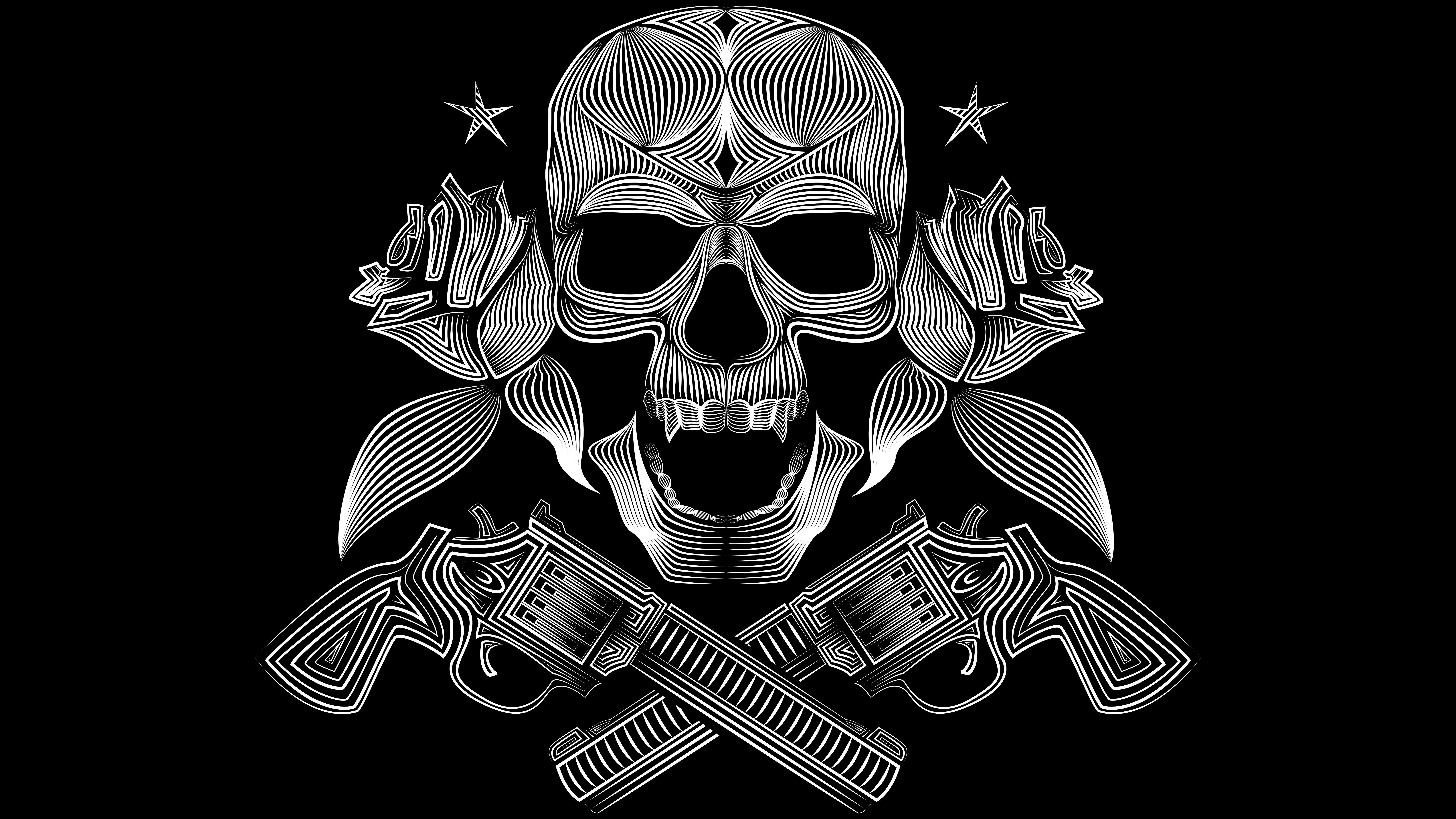 Pirates Gangsters White Vector Black Gun Skull Wallpapers Jpg 8000x4500 Gangsta With Guns Wallpaper