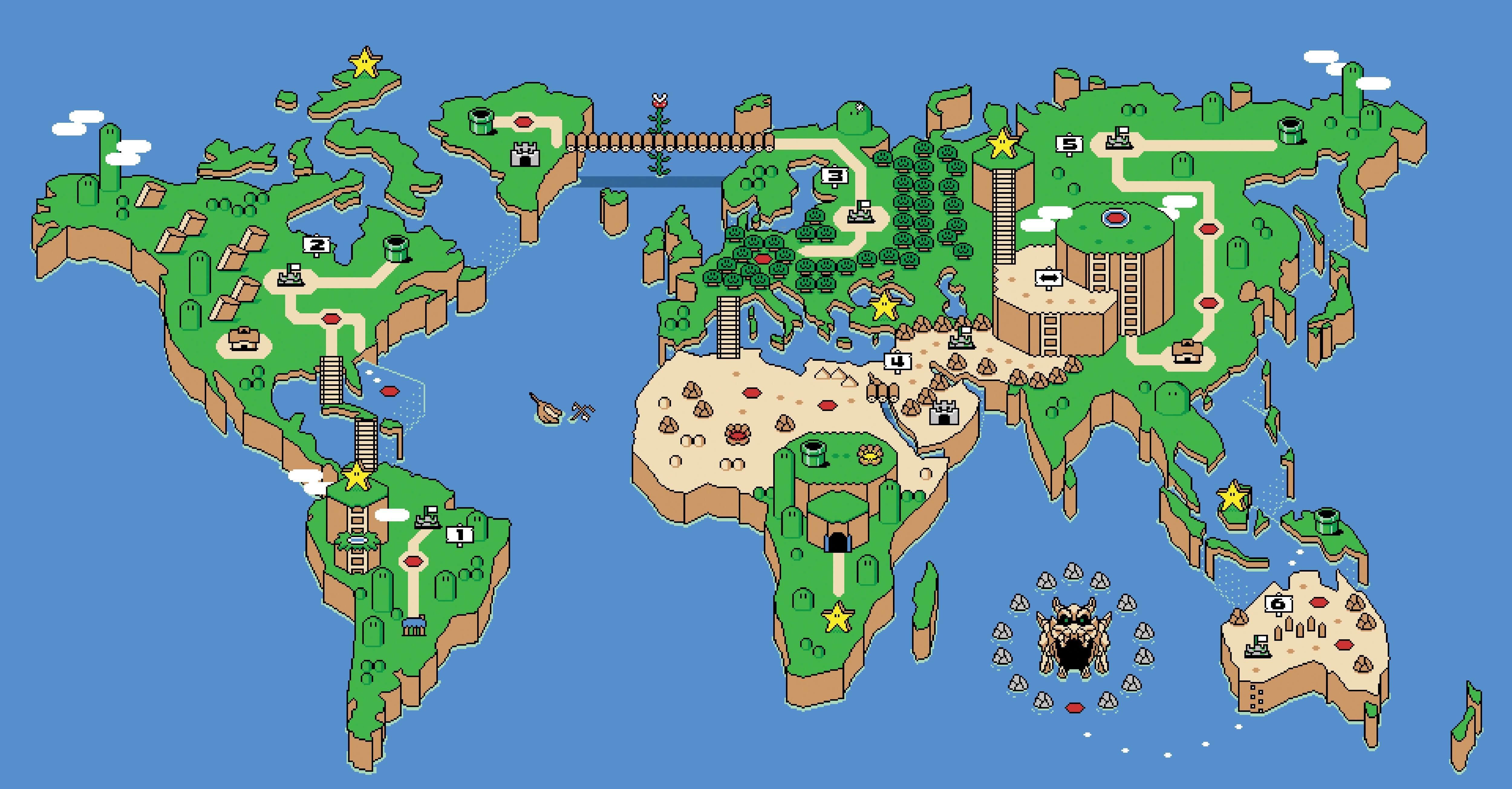 super mario world map all levels Super Mario World Map Wallpapers Wallpaper Cave