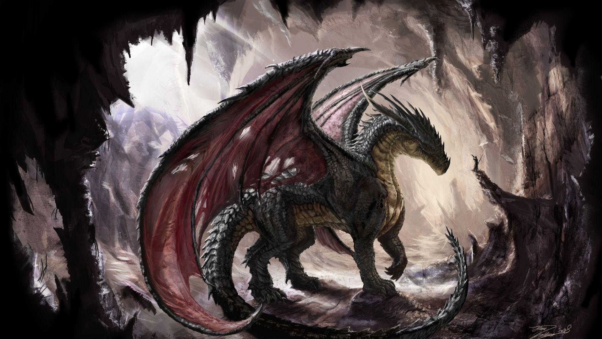 Download Wallpapers 1920x1080 dragon, cave, light, art Full HD 1080p