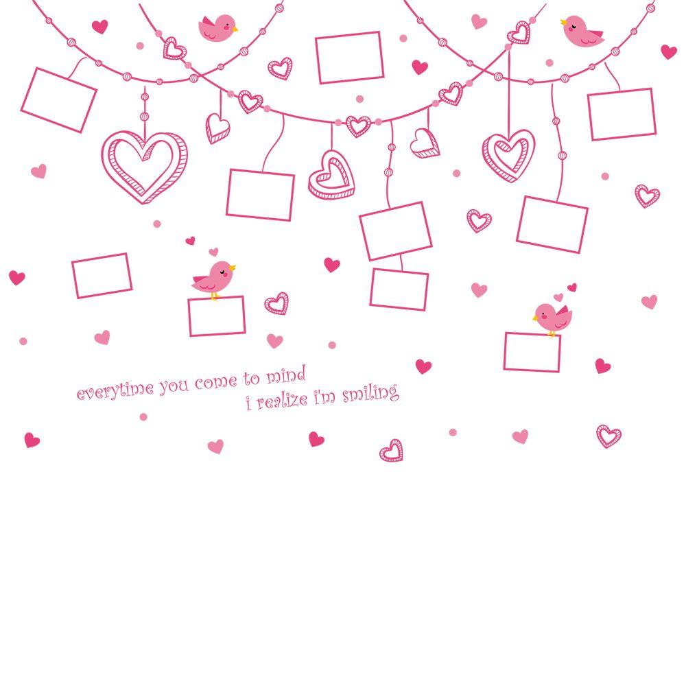 Wall Sticker Romantic Hearts & Photo Frame Removable Cute Pink Art