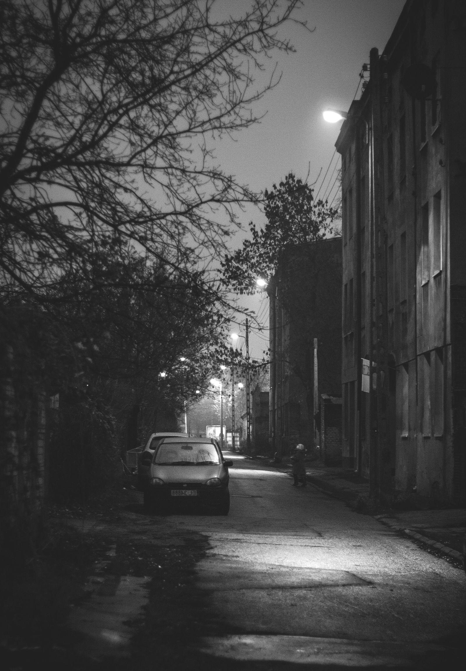 City, Night, Street, Car, Hd Grayscale Image, Monochrome Wallpapers