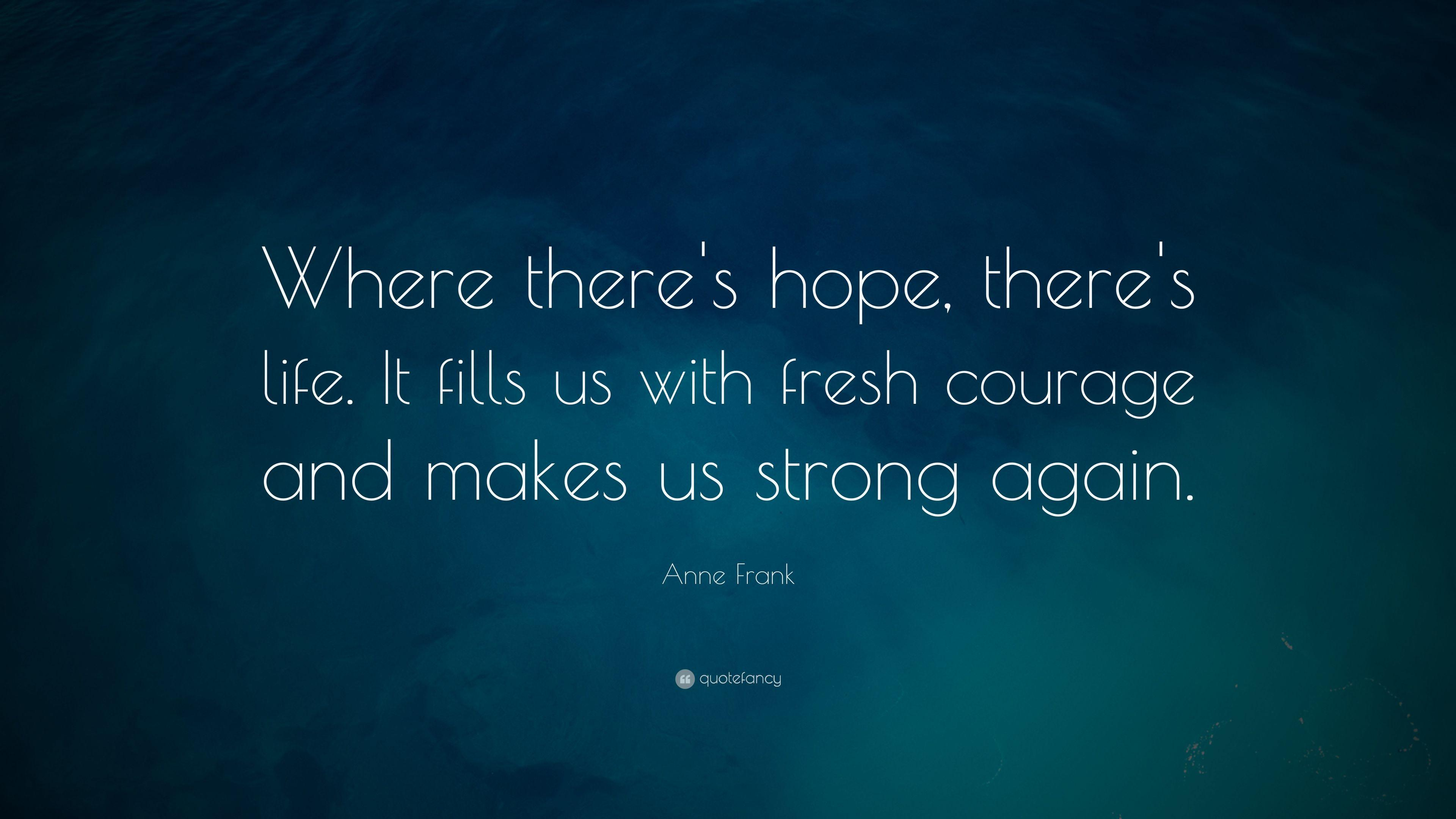 "Anne Frank Quote: ""Where there's hope, there's life. It fills us"