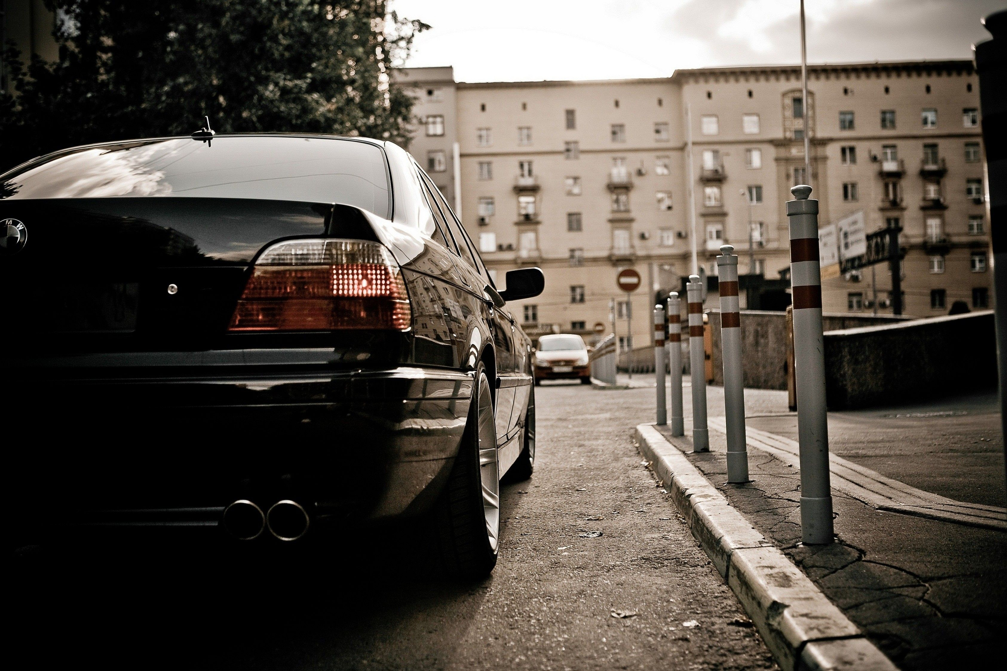 BMW, cars, BMW E38, BMW 7 Series, black cars, rear view :: Wallpapers