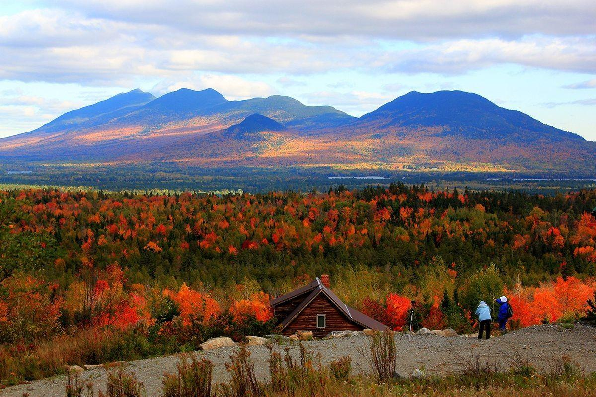 Mountains: Fall Maine Colors Trees Landscape Usa Cottage Autumn