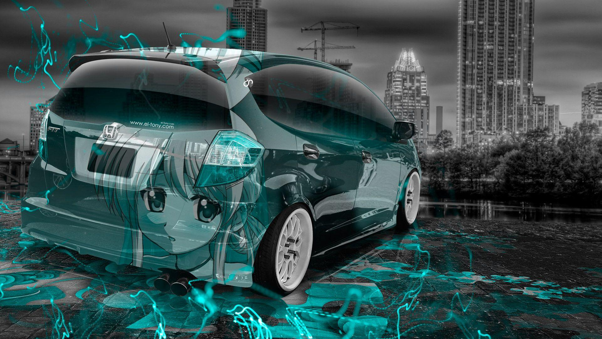 Honda Fit JDM Anime Girl Aerography City Car 2015