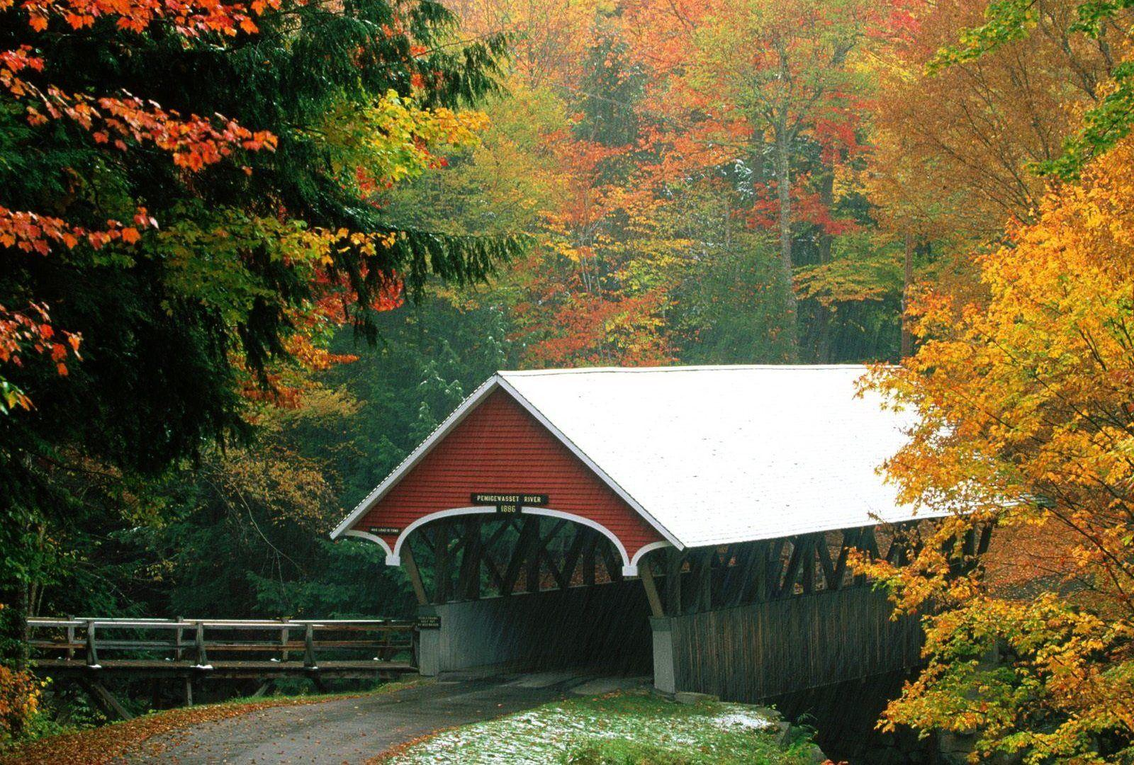 Hampshire Tag wallpapers: Covered Bridge Franconia State Park New