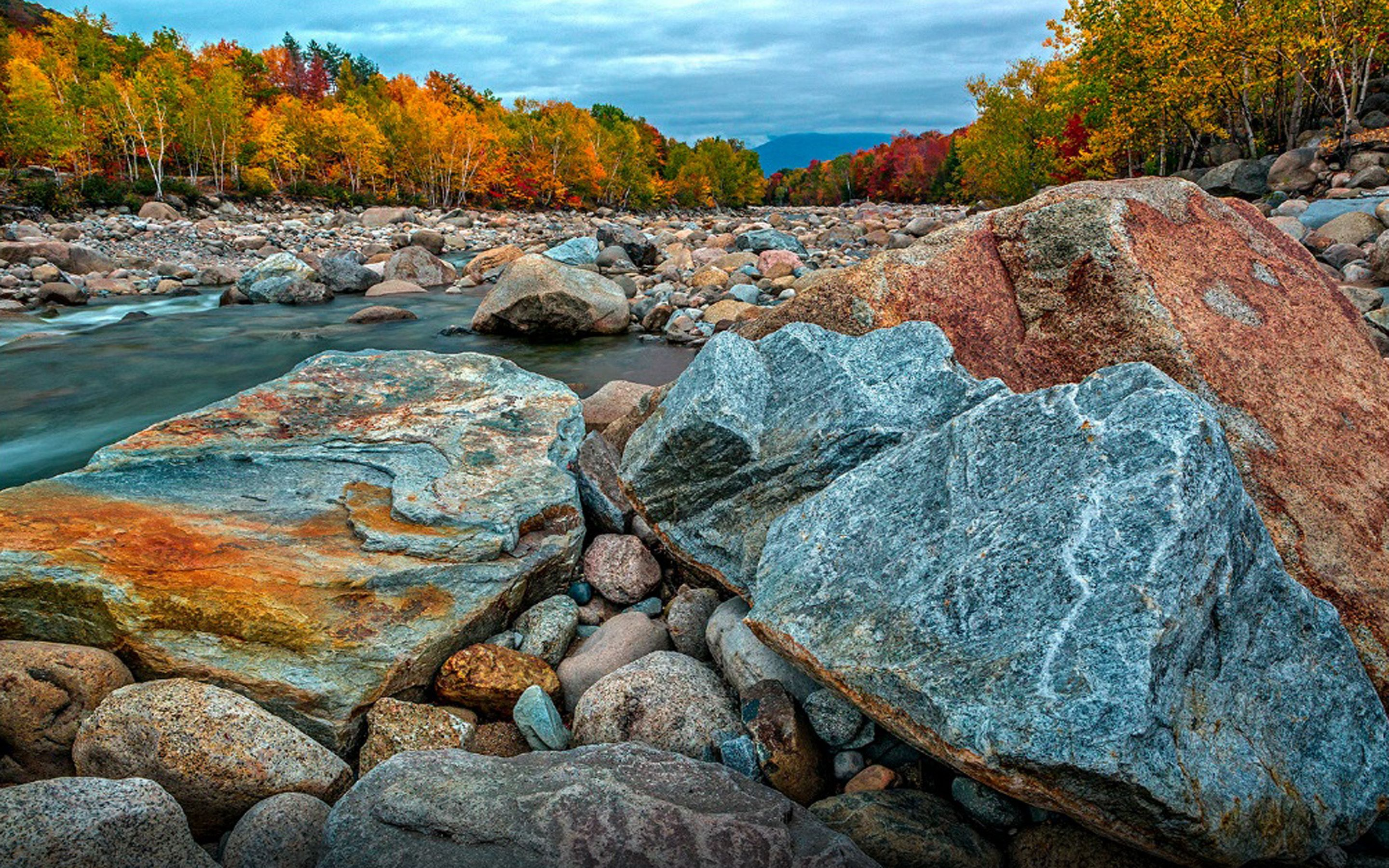 Autumn In The New Hampshire River Pemigewuasset Desktop Wallpapers Hd