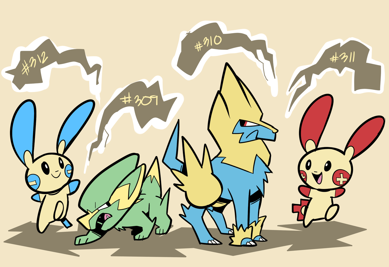 Minun, Electrike, Manectric, Plusle by RoastedStix