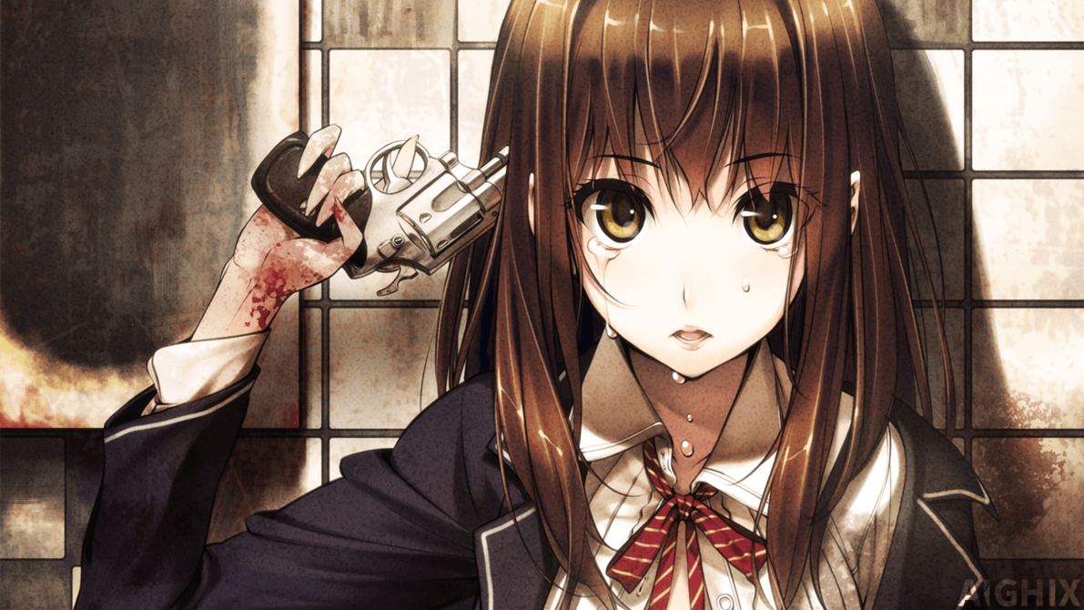 Sad anime girl with gun wallpaper by aighix on deviantart