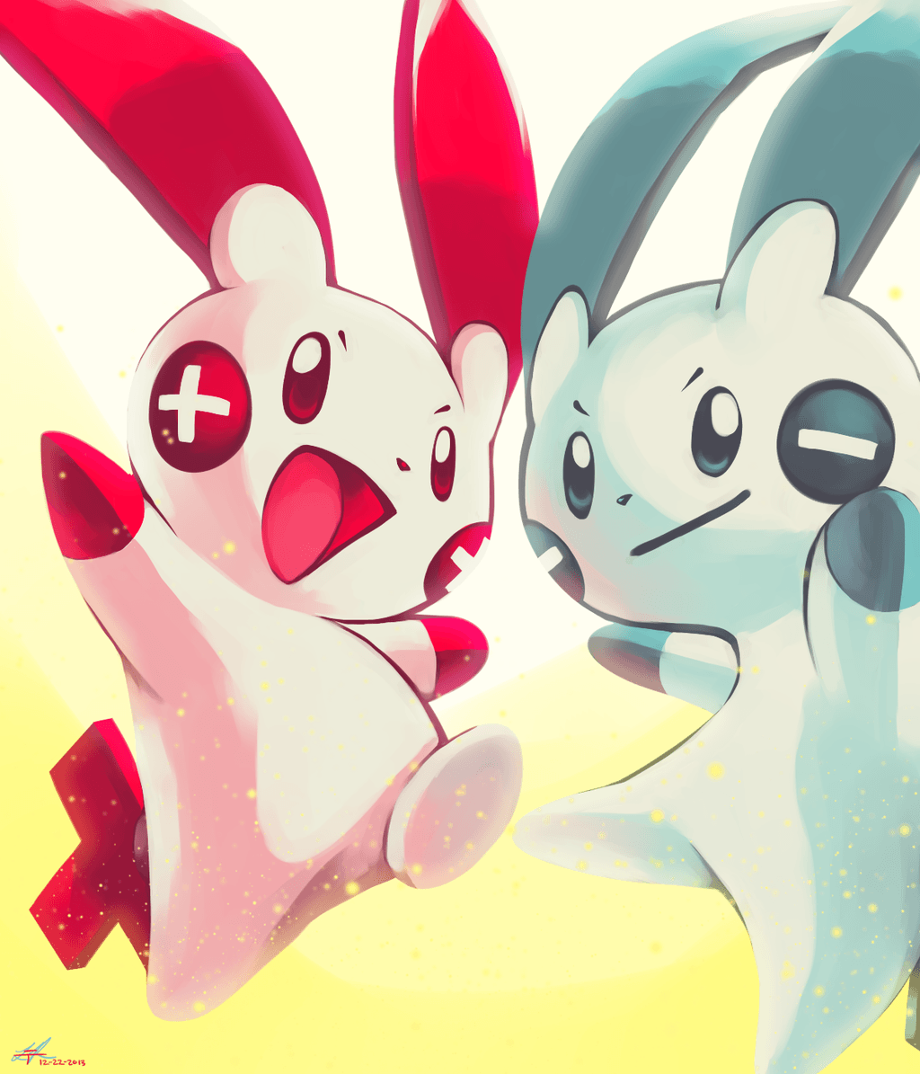 Day20 [ELECTRIC RODENT] Plusle and Minun by Rock